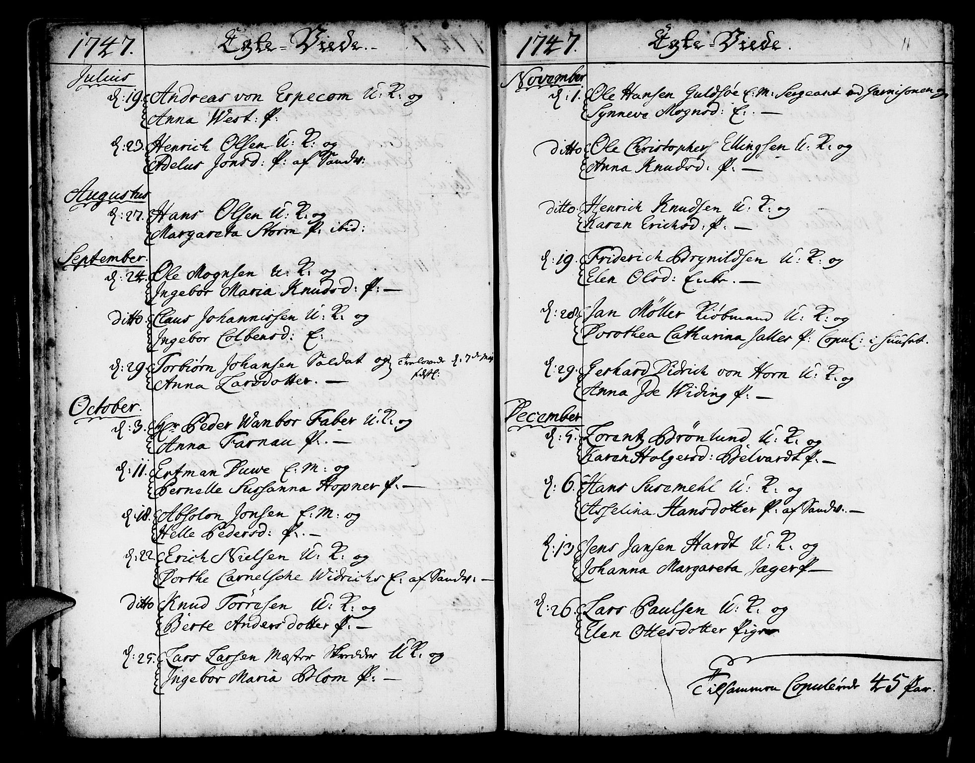 SAB, Korskirken Sokneprestembete, H/Haa/L0009: Ministerialbok nr. A 9, 1743-1861, s. 11