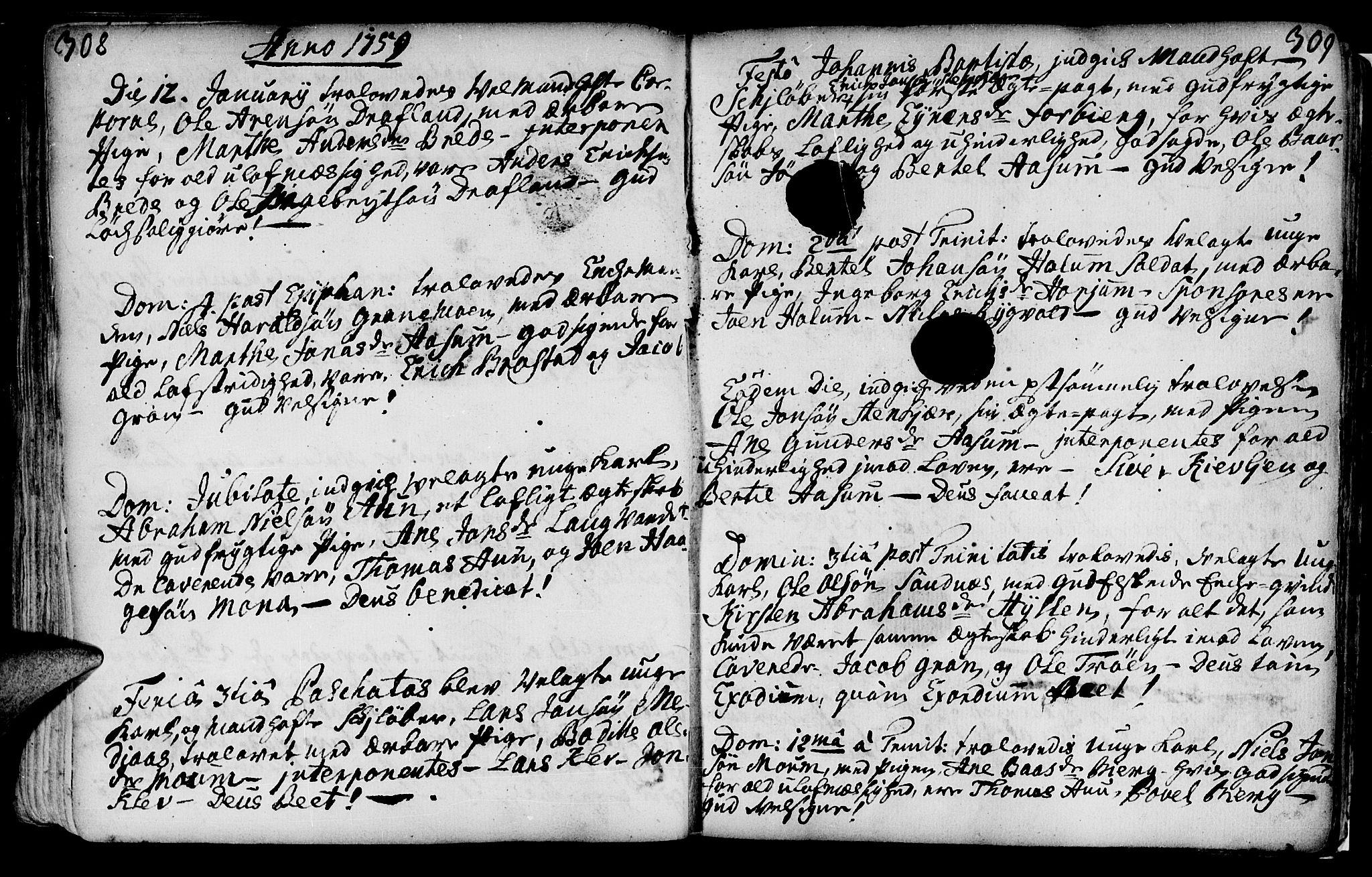 SAT, Ministerialprotokoller, klokkerbøker og fødselsregistre - Nord-Trøndelag, 749/L0467: Ministerialbok nr. 749A01, 1733-1787, s. 308-309