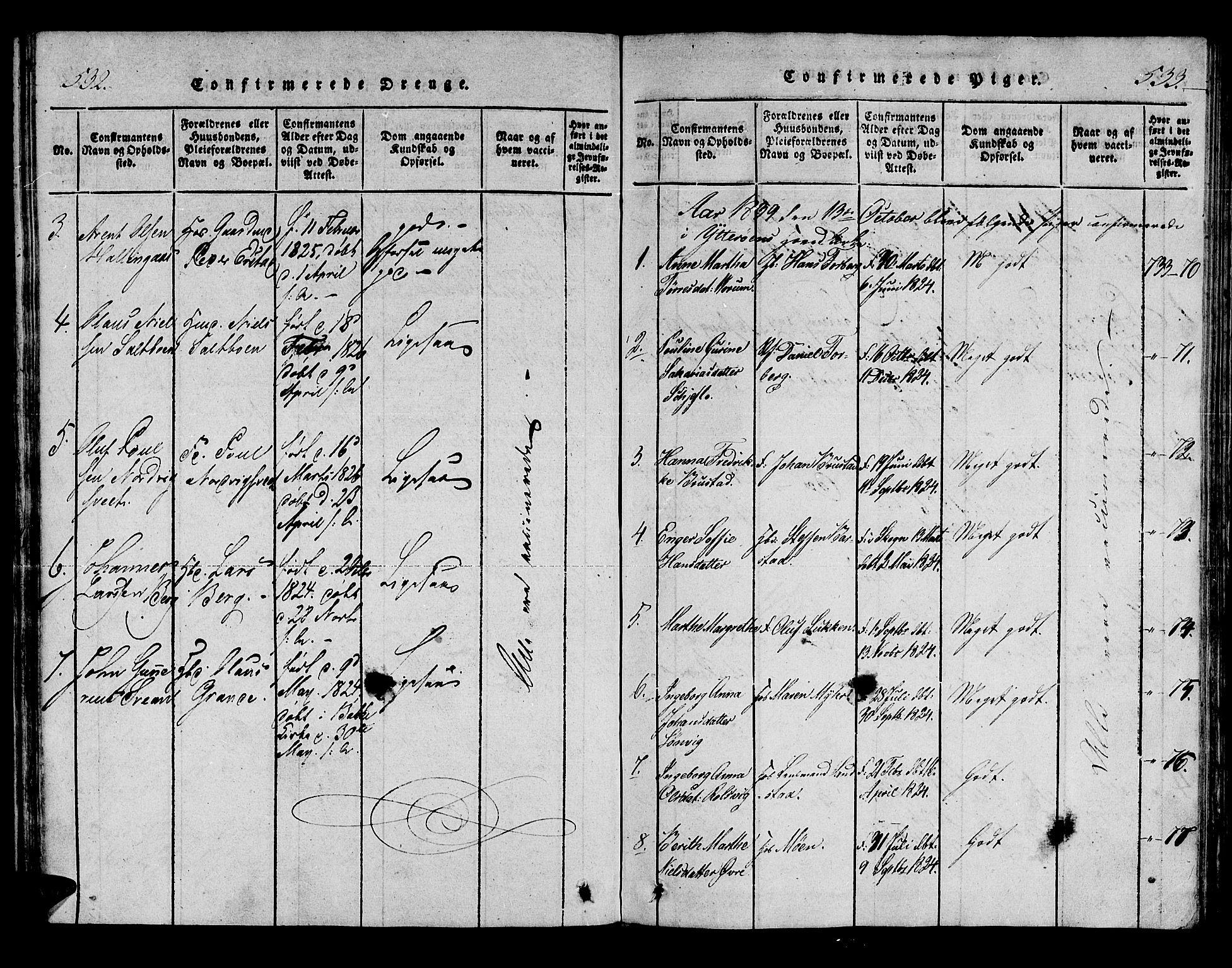 SAT, Ministerialprotokoller, klokkerbøker og fødselsregistre - Nord-Trøndelag, 722/L0217: Ministerialbok nr. 722A04, 1817-1842, s. 532-533