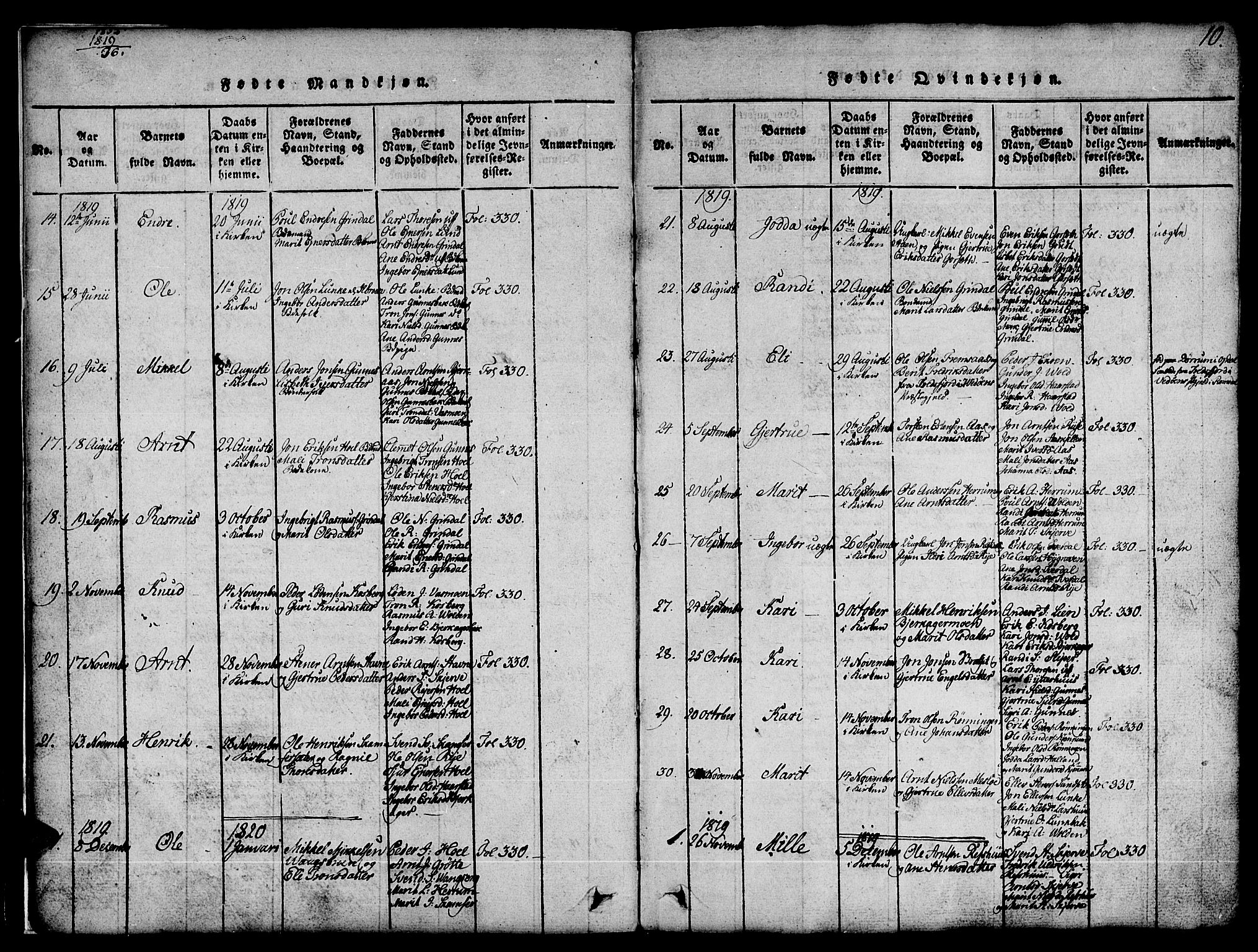 SAT, Ministerialprotokoller, klokkerbøker og fødselsregistre - Sør-Trøndelag, 674/L0874: Klokkerbok nr. 674C01, 1816-1860, s. 10
