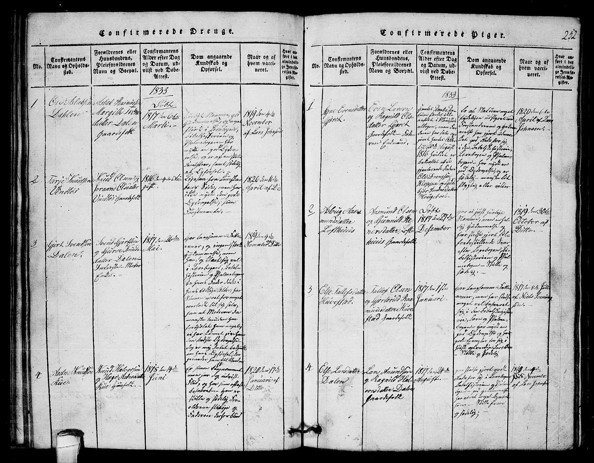 SAKO, Lårdal kirkebøker, G/Gb/L0001: Klokkerbok nr. II 1, 1815-1865, s. 252