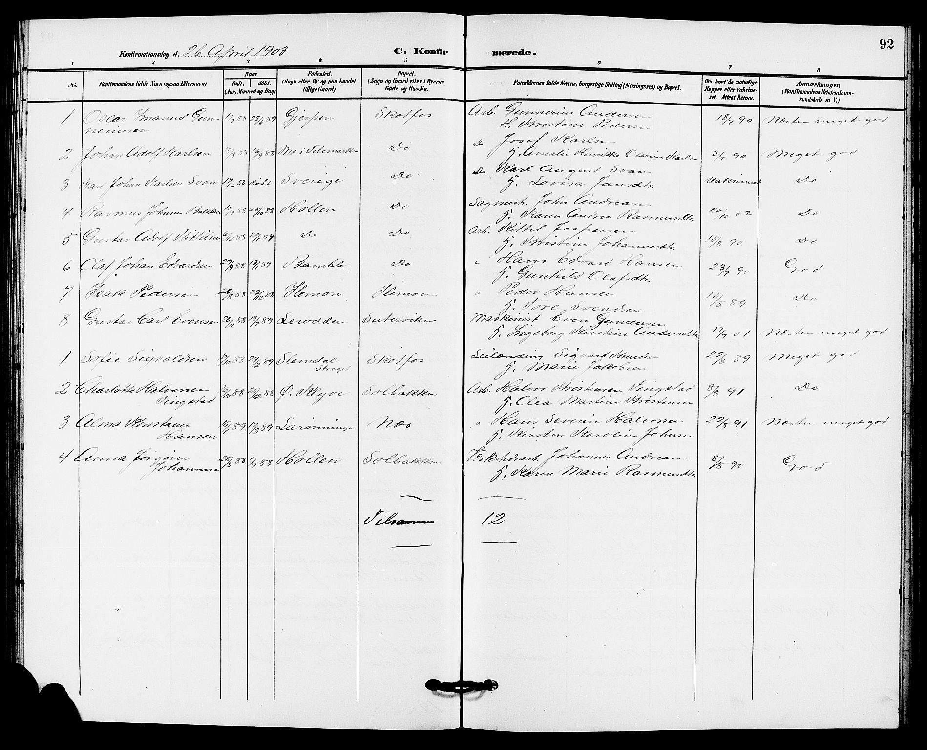 SAKO, Solum kirkebøker, G/Gb/L0004: Klokkerbok nr. II 4, 1898-1905, s. 92