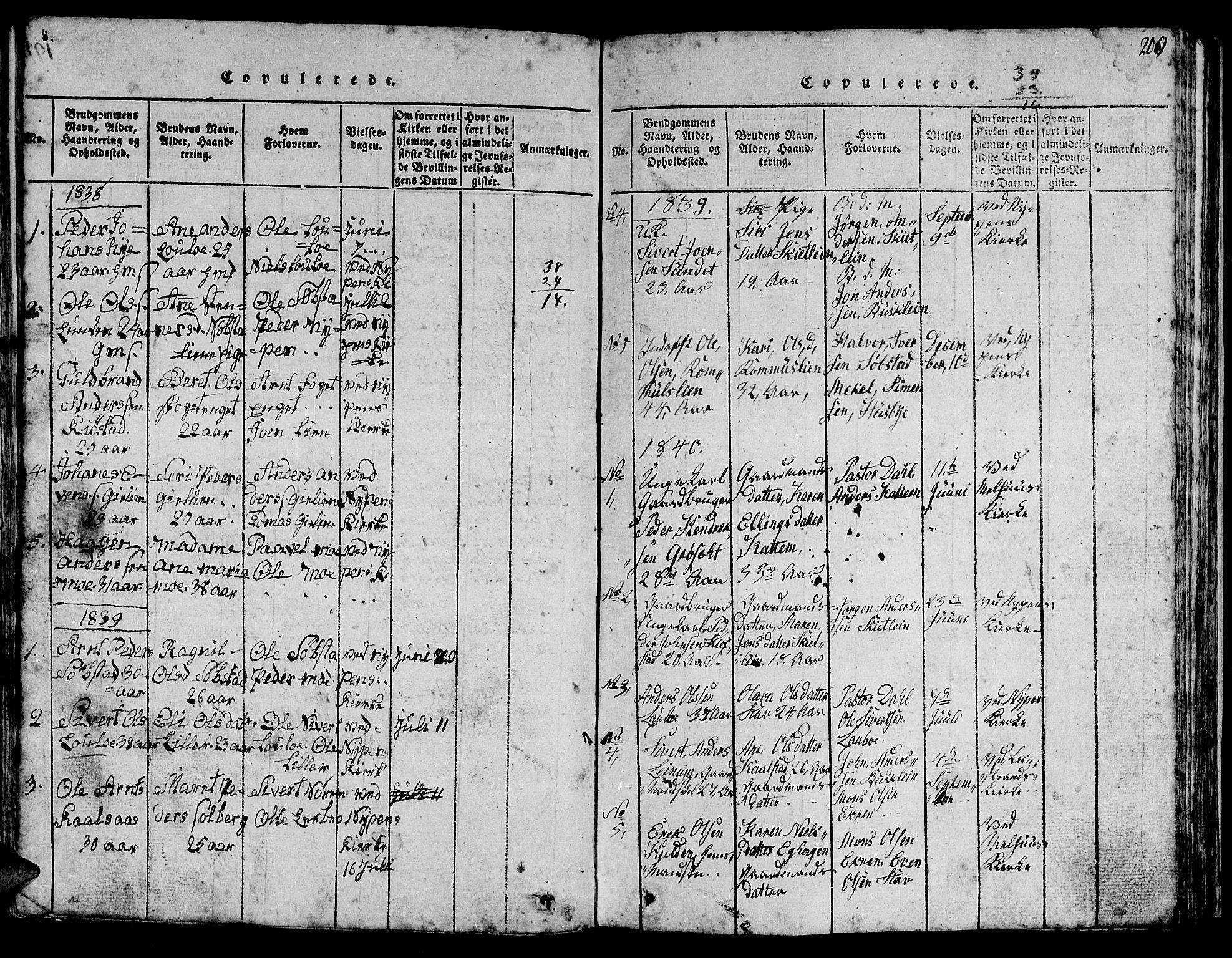 SAT, Ministerialprotokoller, klokkerbøker og fødselsregistre - Sør-Trøndelag, 613/L0393: Klokkerbok nr. 613C01, 1816-1886, s. 200