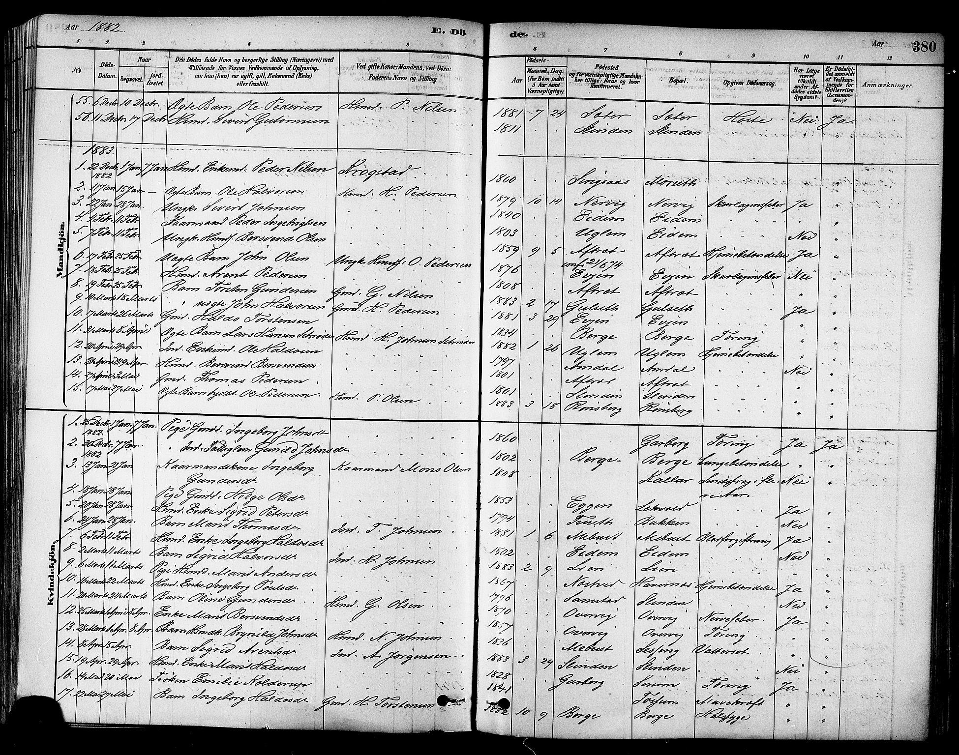 SAT, Ministerialprotokoller, klokkerbøker og fødselsregistre - Sør-Trøndelag, 695/L1148: Ministerialbok nr. 695A08, 1878-1891, s. 380
