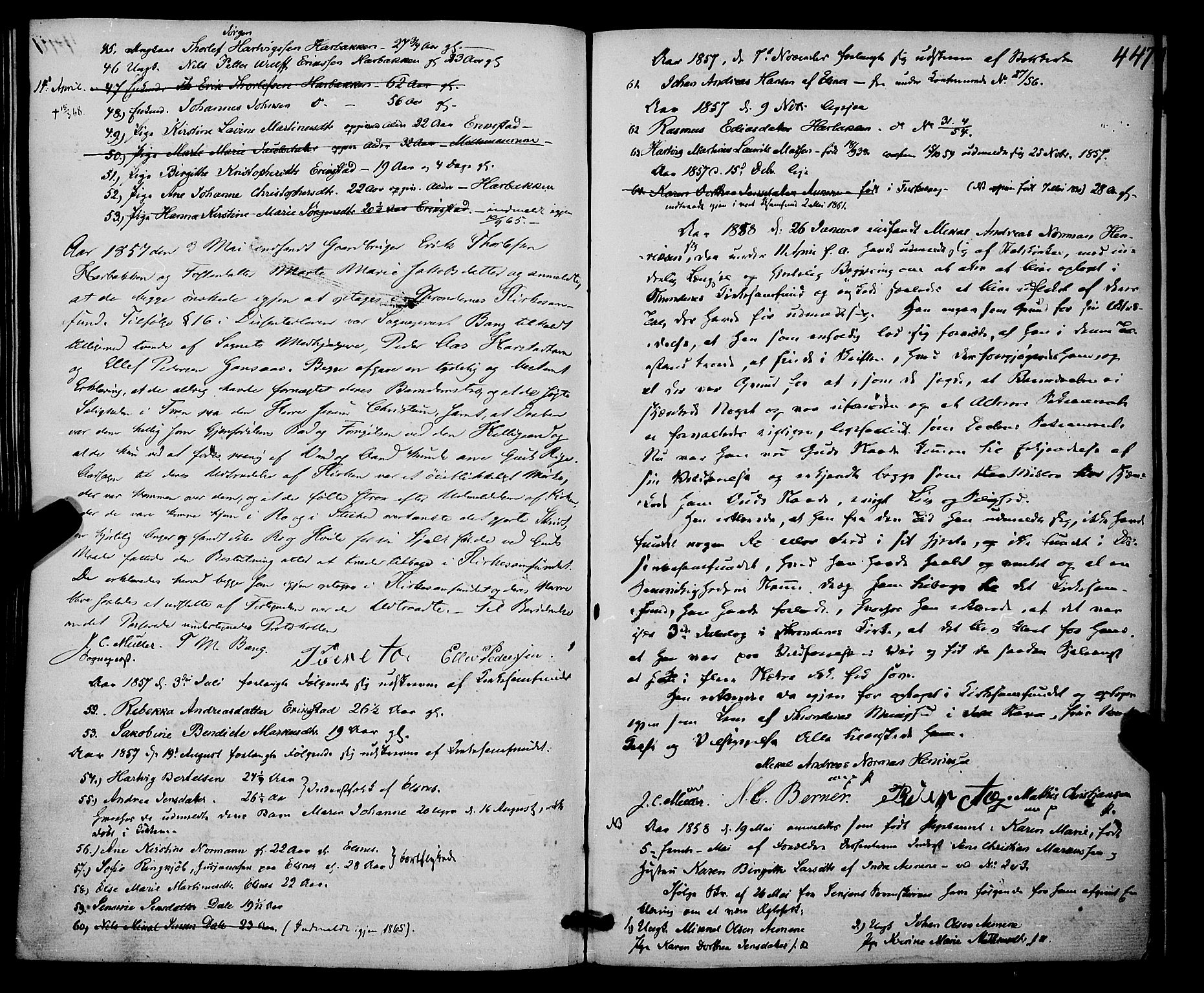 SATØ, Trondenes sokneprestkontor, H/Ha/L0011kirke: Ministerialbok nr. 11, 1853-1862, s. 447