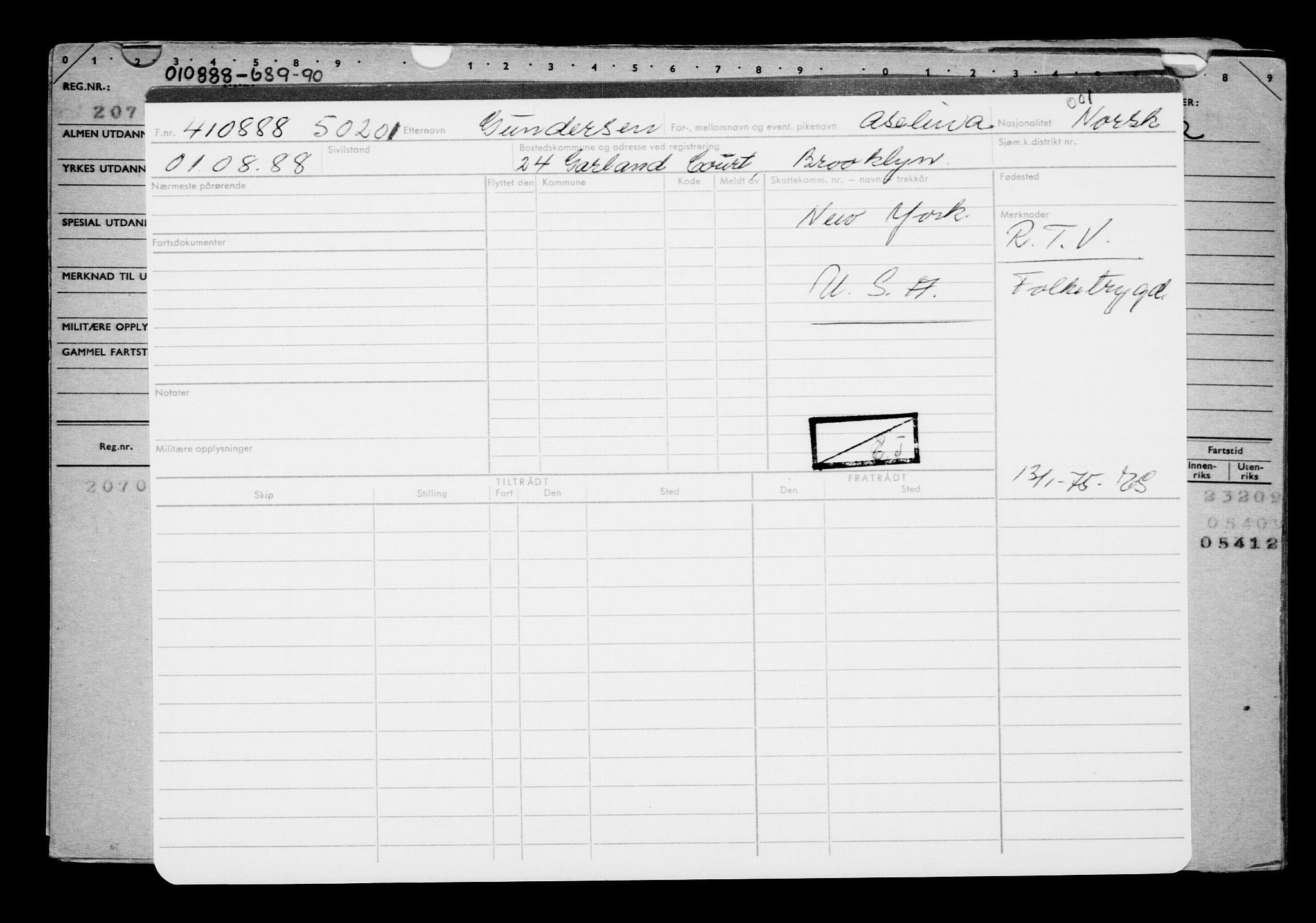 RA, Direktoratet for sjømenn, G/Gb/L0005: Hovedkort, 1888, s. 313