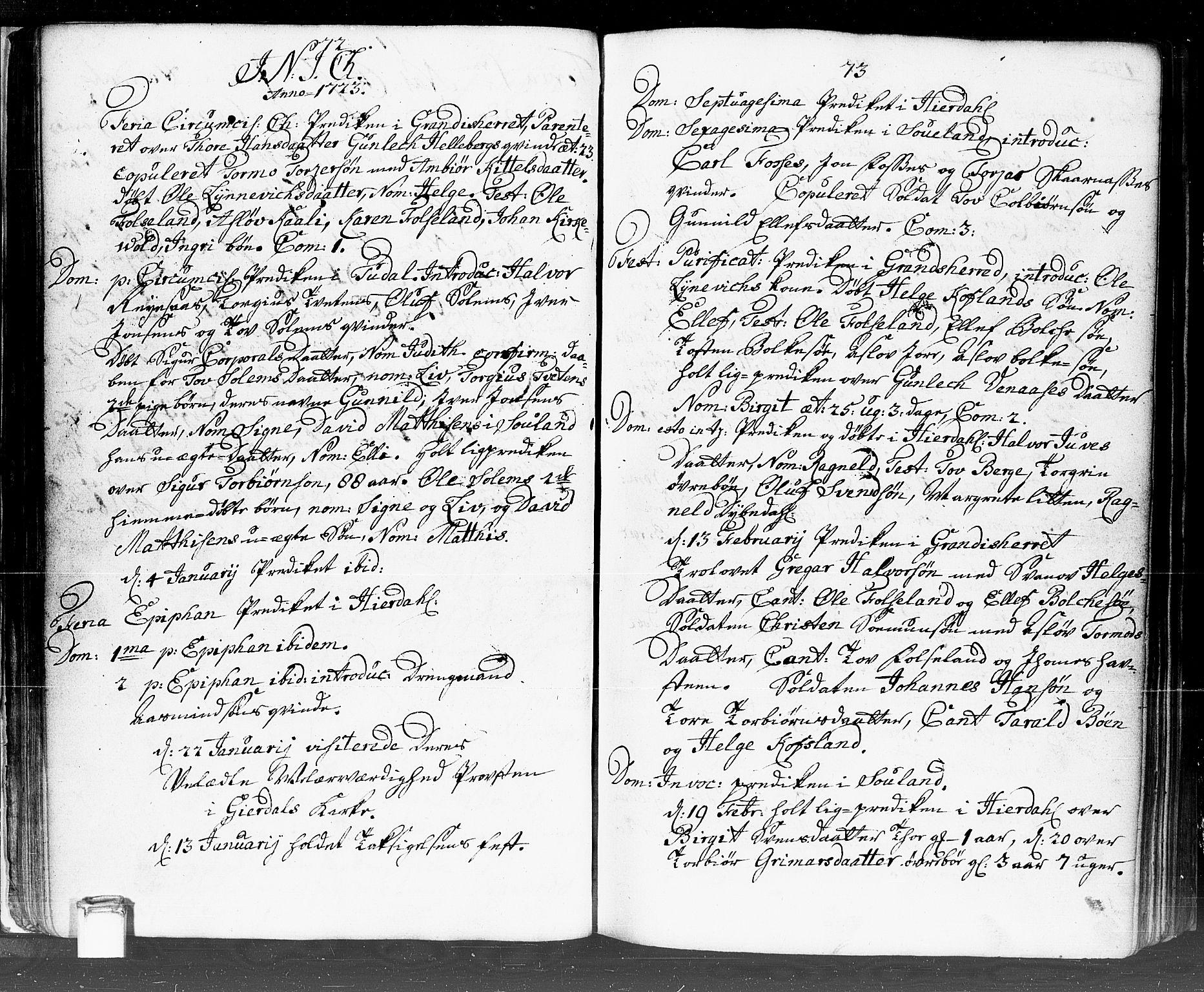 SAKO, Hjartdal kirkebøker, F/Fa/L0002: Ministerialbok nr. I 2, 1716-1754, s. 72-73