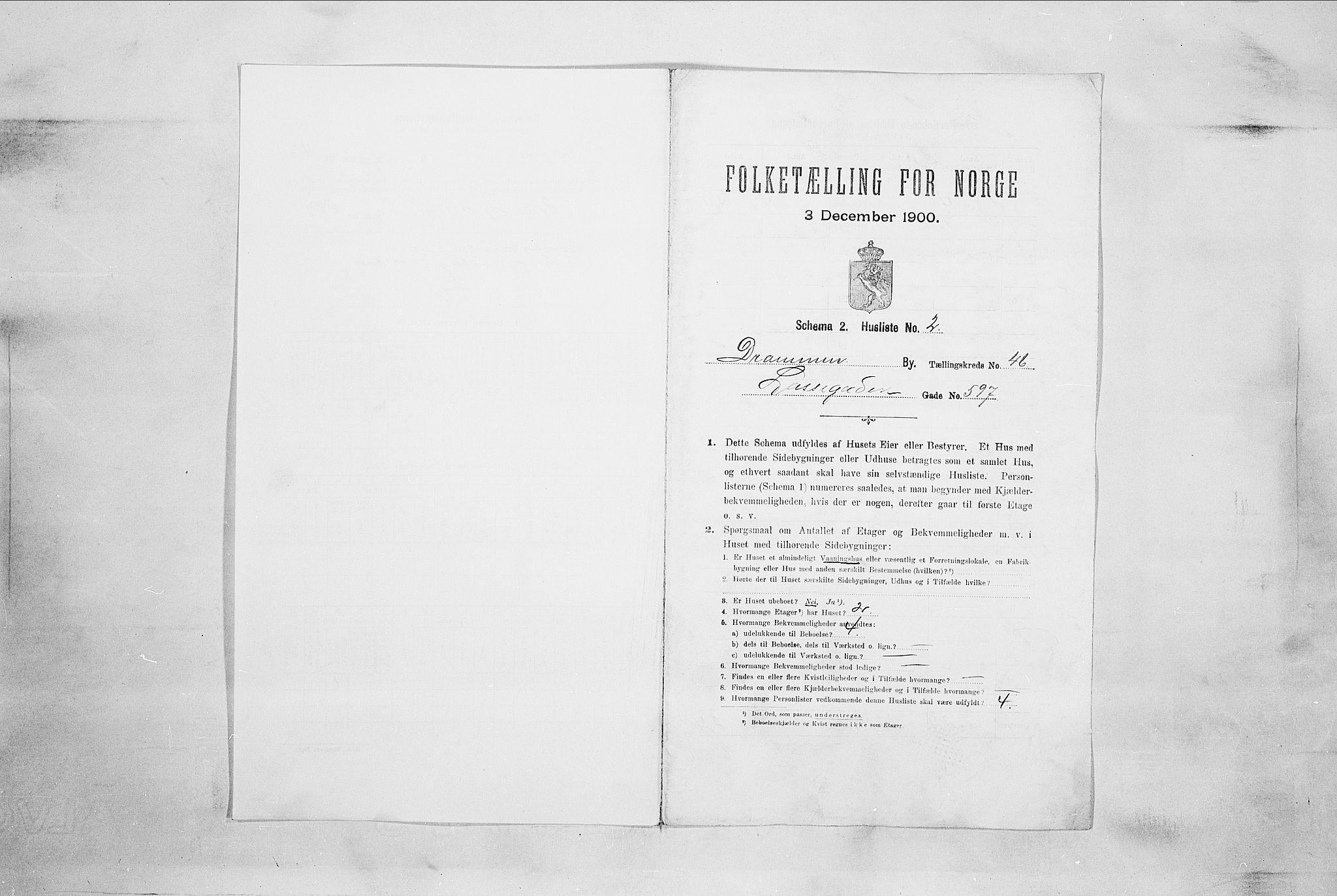 RA, Folketelling 1900 for 0602 Drammen kjøpstad, 1900, s. 7831