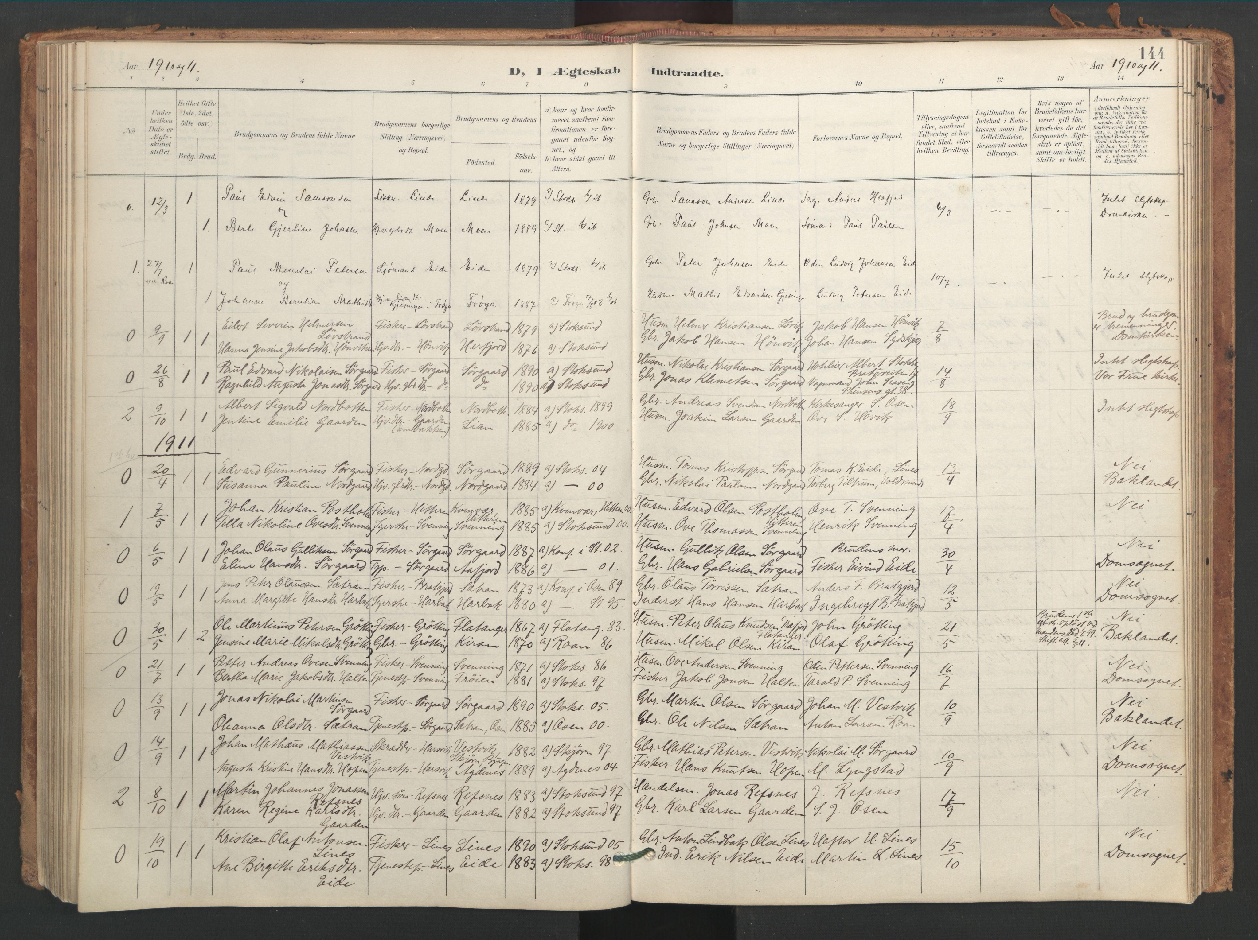 SAT, Ministerialprotokoller, klokkerbøker og fødselsregistre - Sør-Trøndelag, 656/L0693: Ministerialbok nr. 656A02, 1894-1913, s. 144