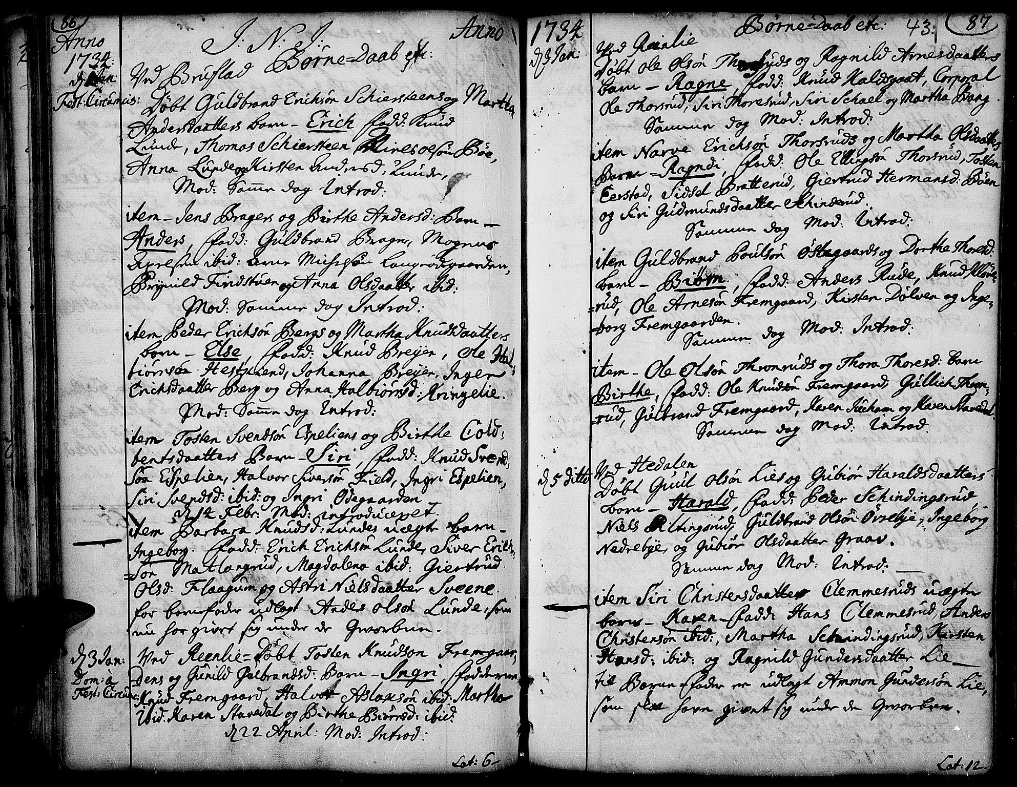 SAH, Aurdal prestekontor, Ministerialbok nr. 4, 1730-1762, s. 86-87