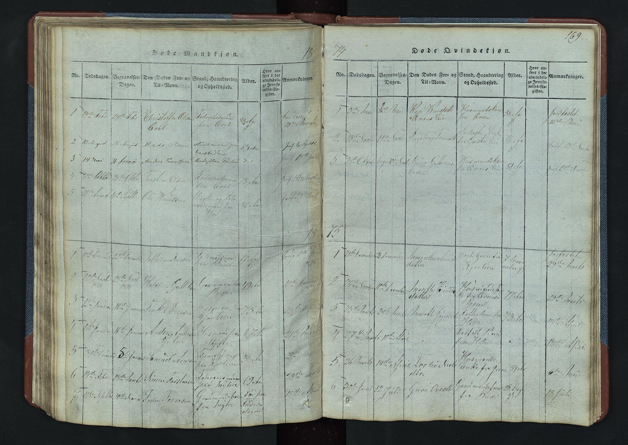 SAH, Vang prestekontor, Valdres, Klokkerbok nr. 3, 1814-1892, s. 169