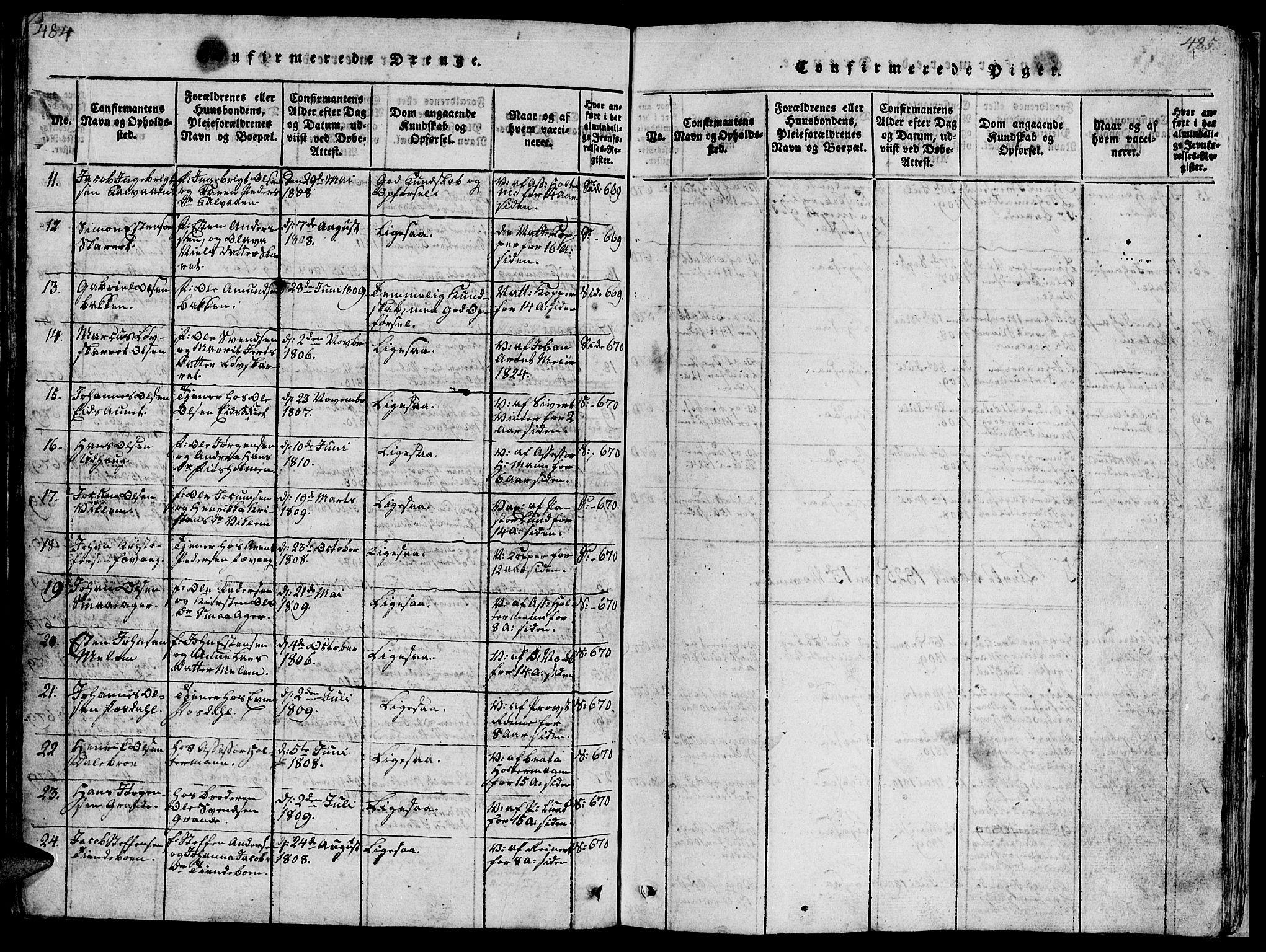 SAT, Ministerialprotokoller, klokkerbøker og fødselsregistre - Sør-Trøndelag, 659/L0744: Klokkerbok nr. 659C01, 1818-1825, s. 484-485