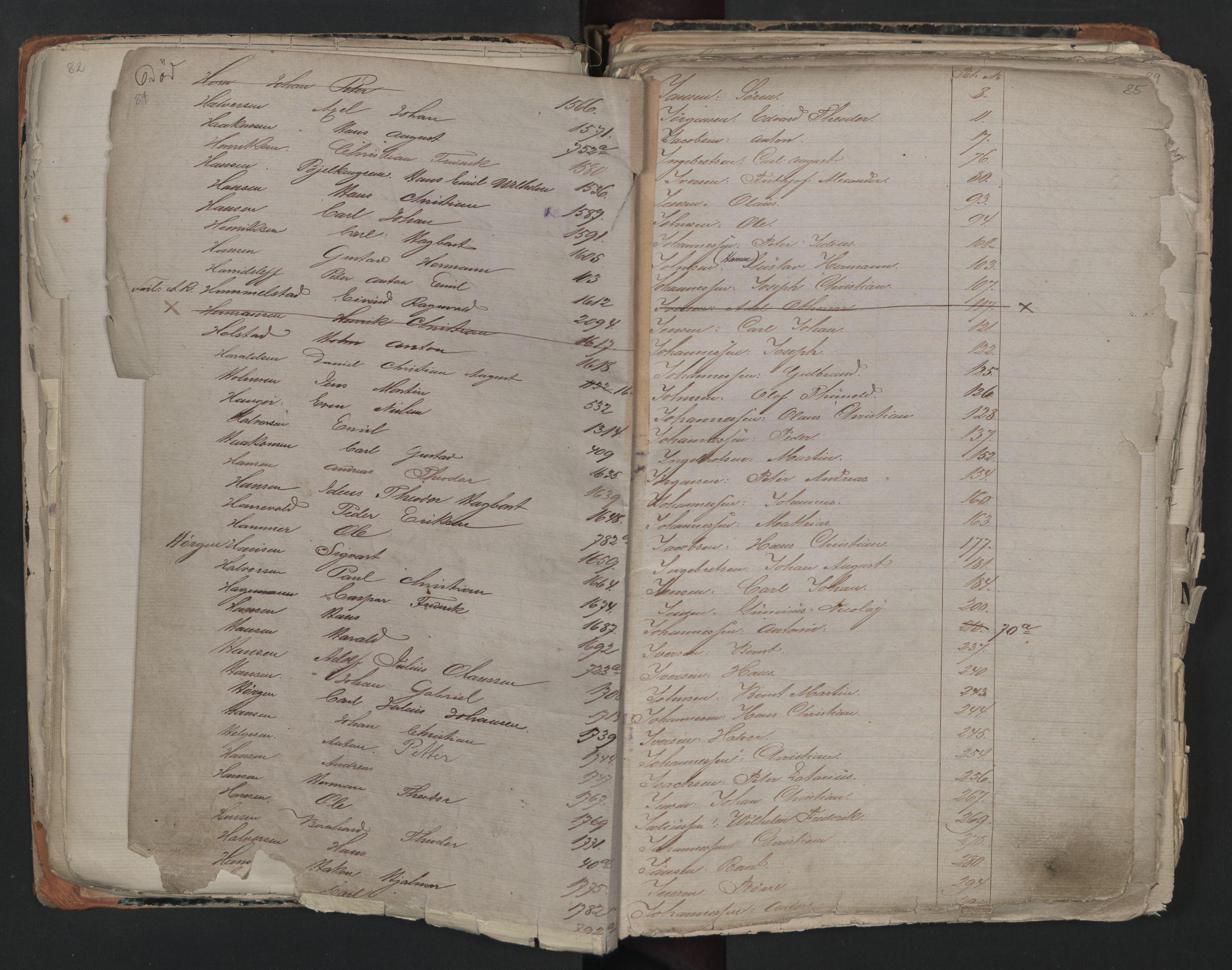 SAO, Oslo sjømannskontor, F/Fa/L0001: Register for Kristiania krets, 1866-1891, s. 84-85
