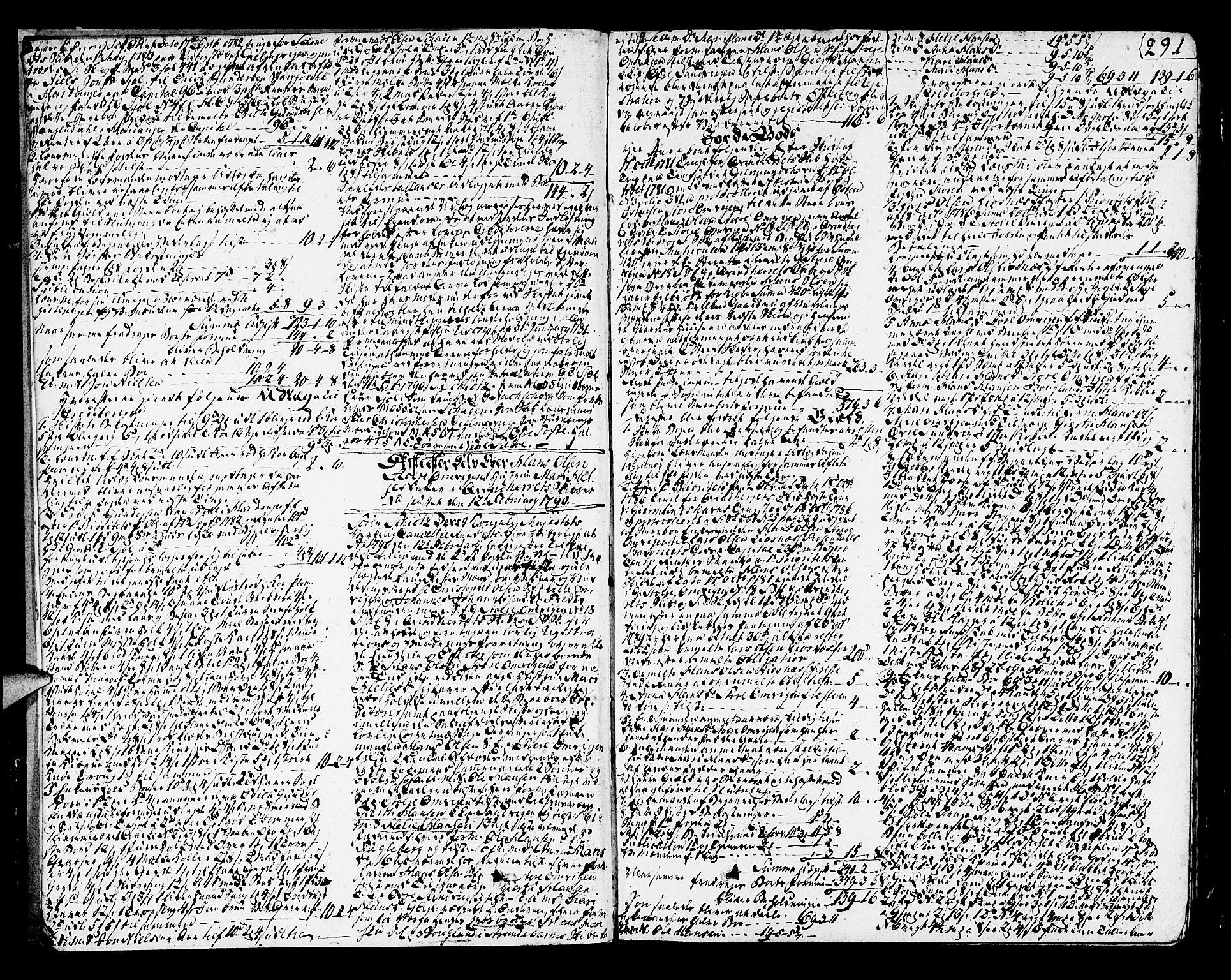 SAB, Sunnhordland sorenskrivararkiv, H/Haa/L0010: Skifteprotokollar. Register i protokoll. Fol. 565-ut, 1790-1792, s. 290b-291a