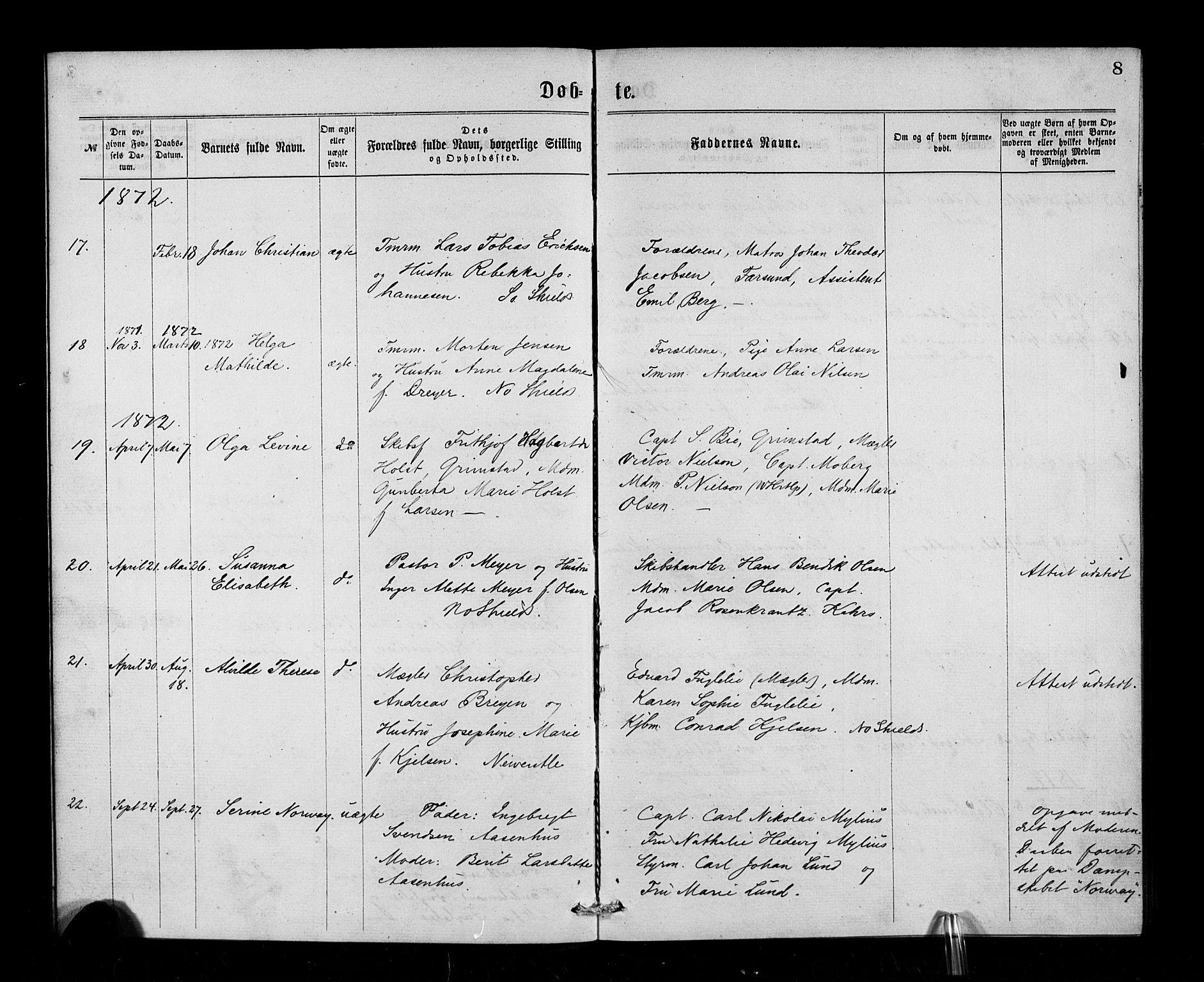 SAB, Den Norske Sjømannsmisjon i utlandet*, Ministerialbok nr. A 1, 1865-1883, s. 8