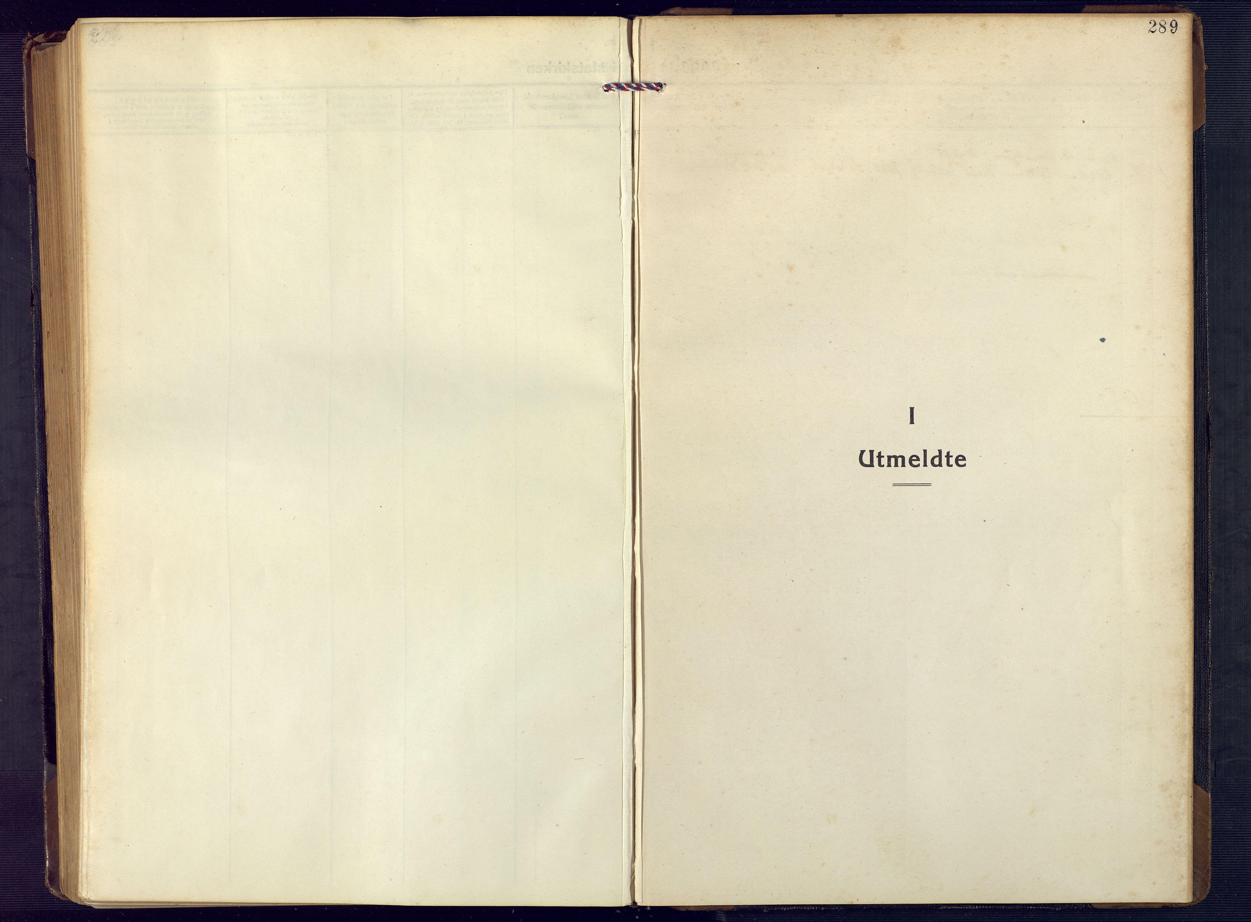 SAK, Åseral sokneprestkontor, F/Fb/L0004: Klokkerbok nr. B 4, 1920-1946, s. 289