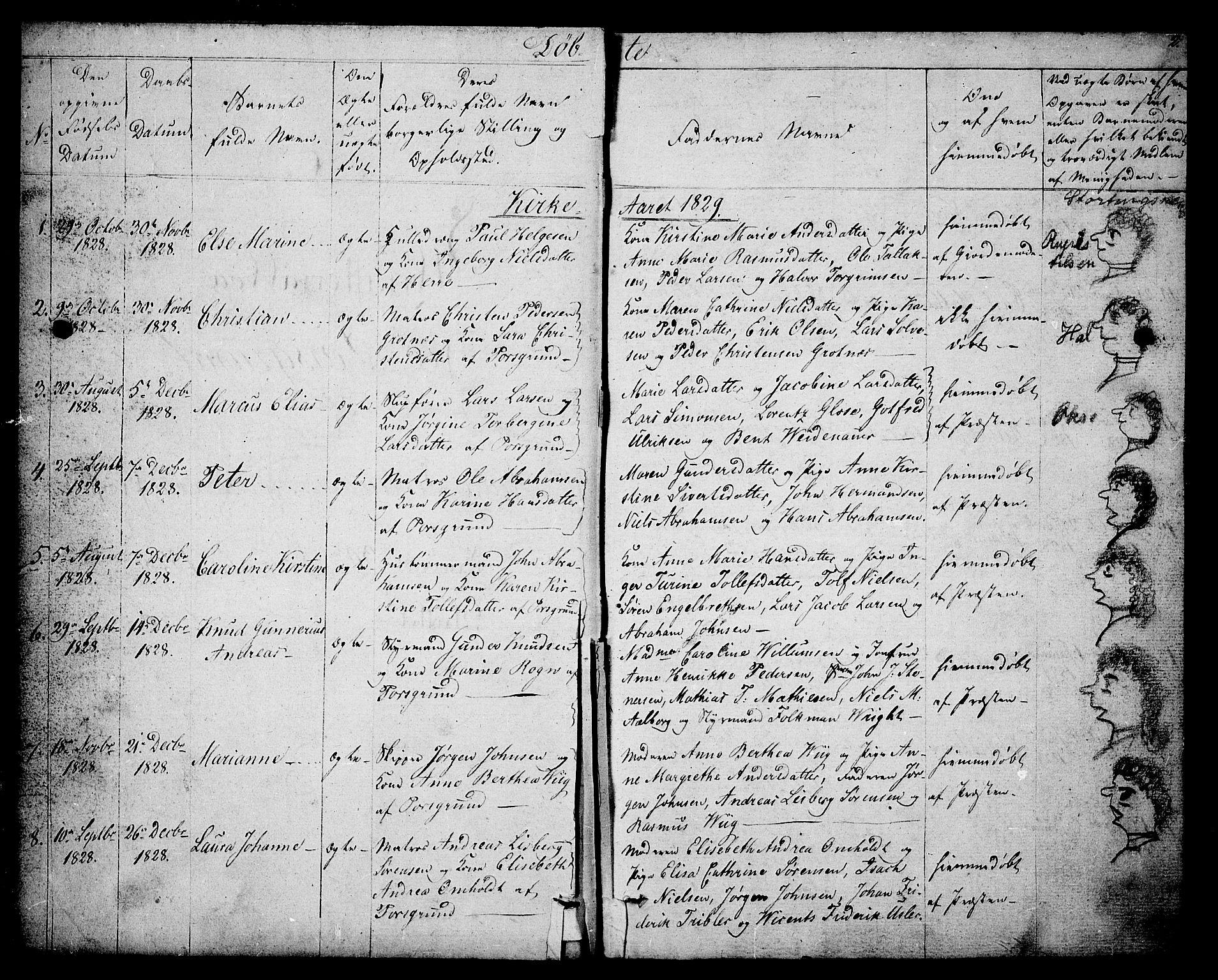 SAKO, Porsgrunn kirkebøker , F/Fa/L0005: Ministerialbok nr. 5, 1828-1840, s. 2