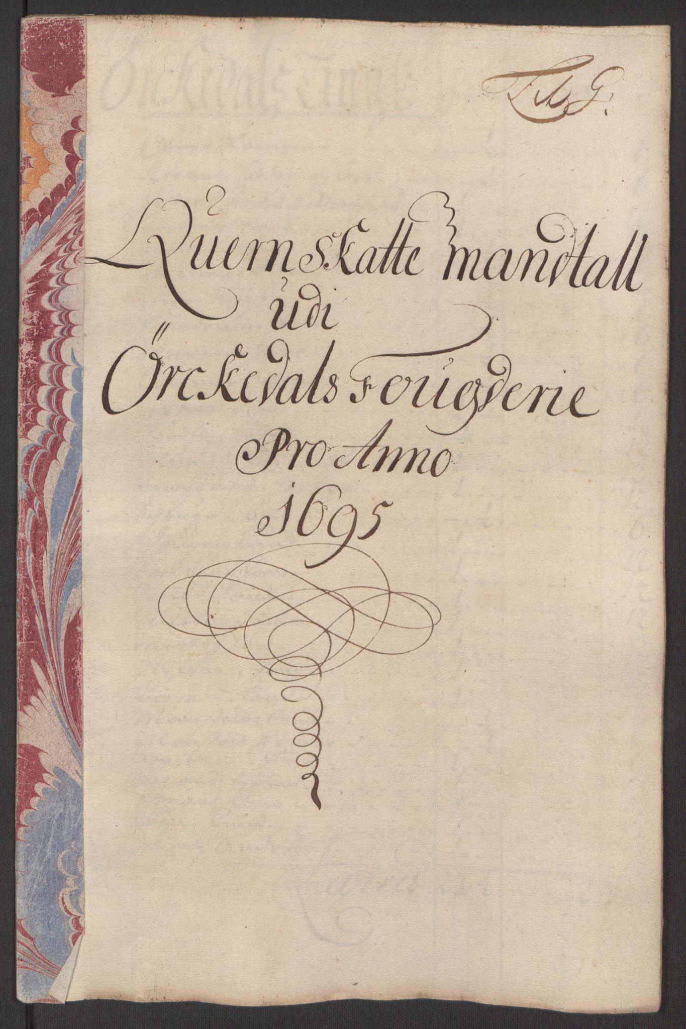 RA, Rentekammeret inntil 1814, Reviderte regnskaper, Fogderegnskap, R60/L3945: Fogderegnskap Orkdal og Gauldal, 1695, s. 148