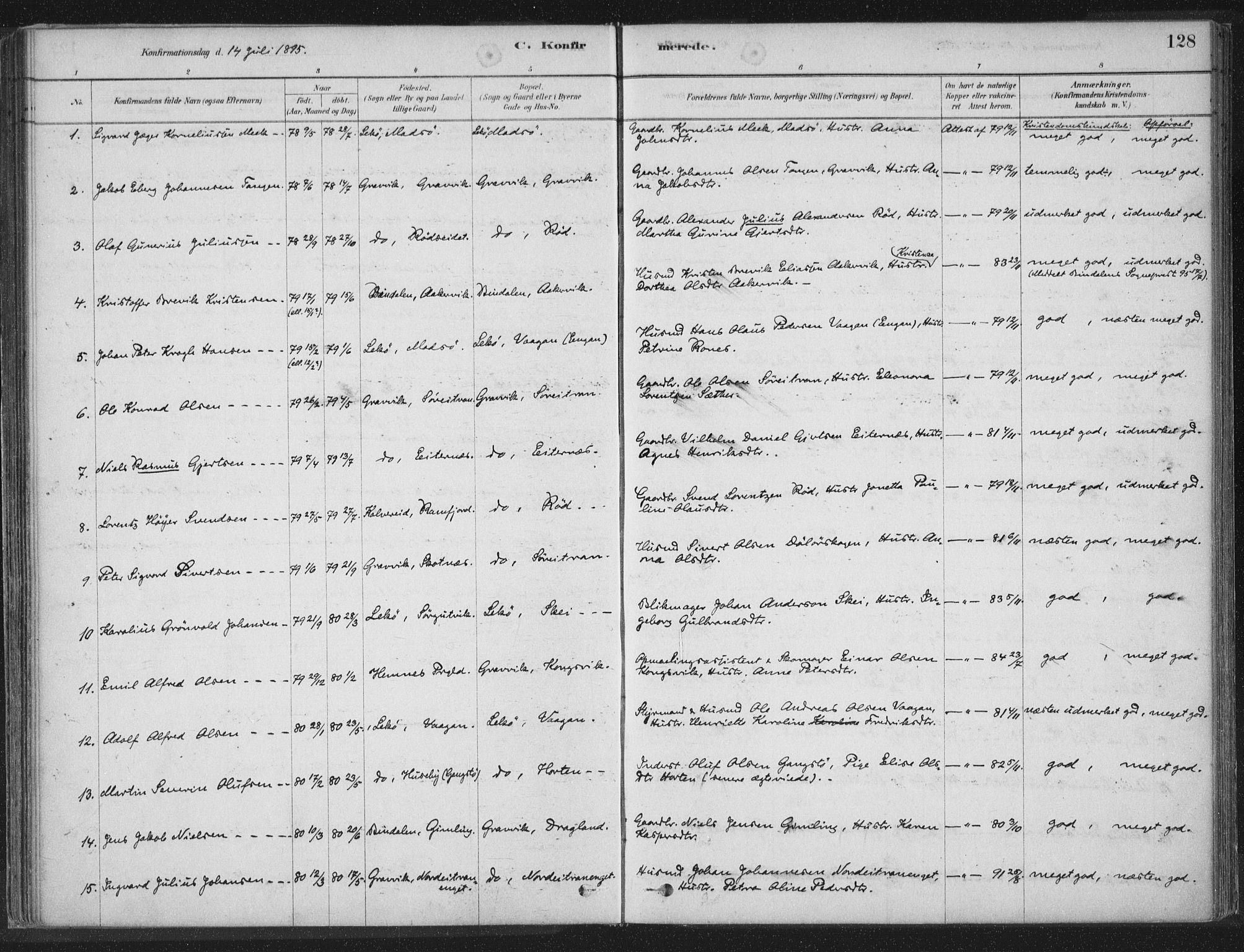 SAT, Ministerialprotokoller, klokkerbøker og fødselsregistre - Nord-Trøndelag, 788/L0697: Ministerialbok nr. 788A04, 1878-1902, s. 128