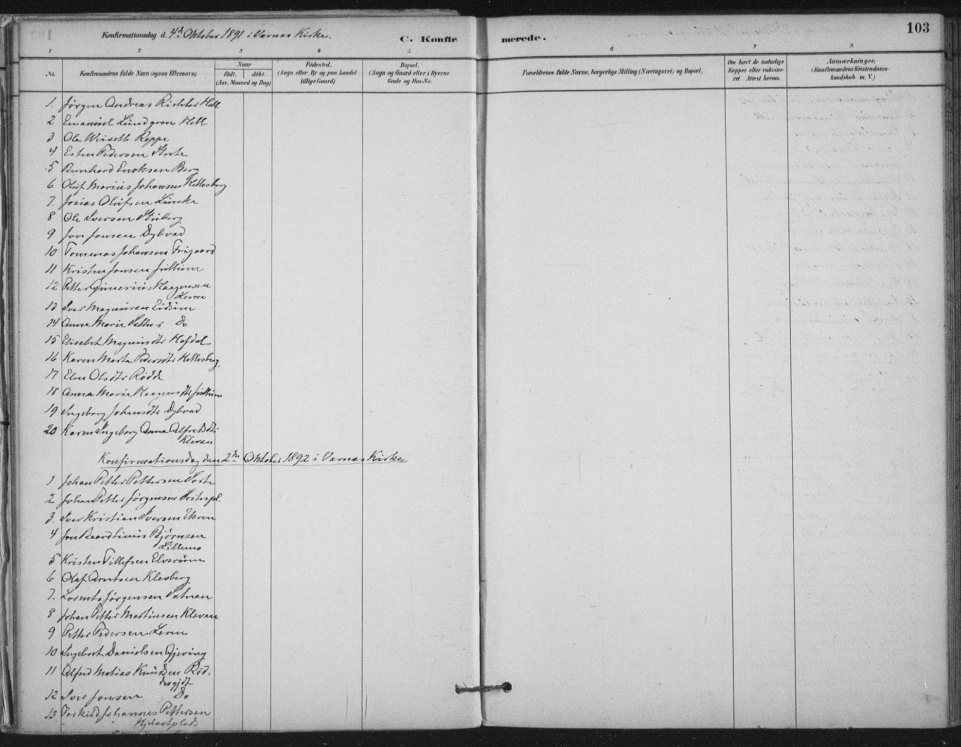 SAT, Ministerialprotokoller, klokkerbøker og fødselsregistre - Nord-Trøndelag, 710/L0095: Ministerialbok nr. 710A01, 1880-1914, s. 103