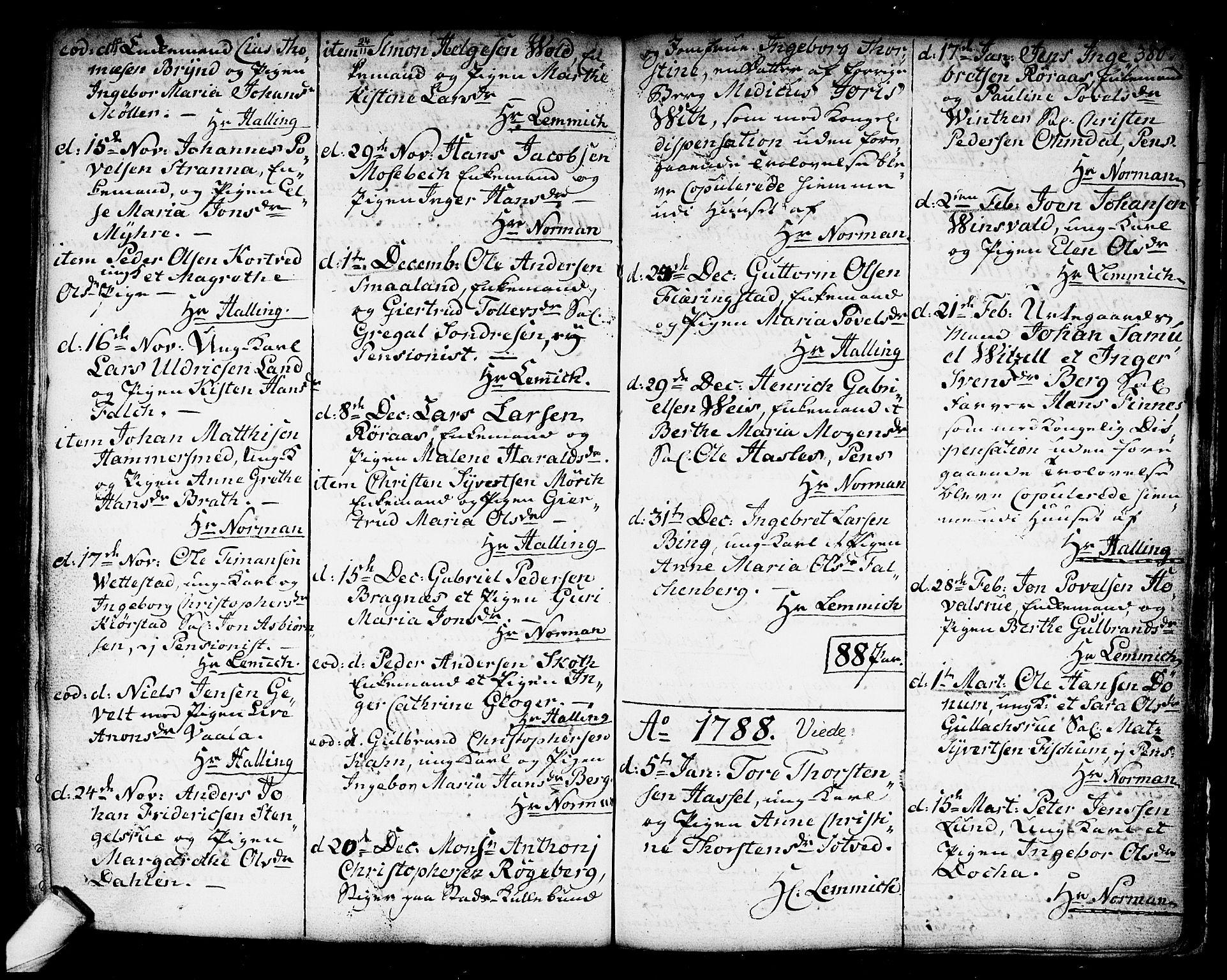 SAKO, Kongsberg kirkebøker, F/Fa/L0006: Ministerialbok nr. I 6, 1783-1797, s. 380