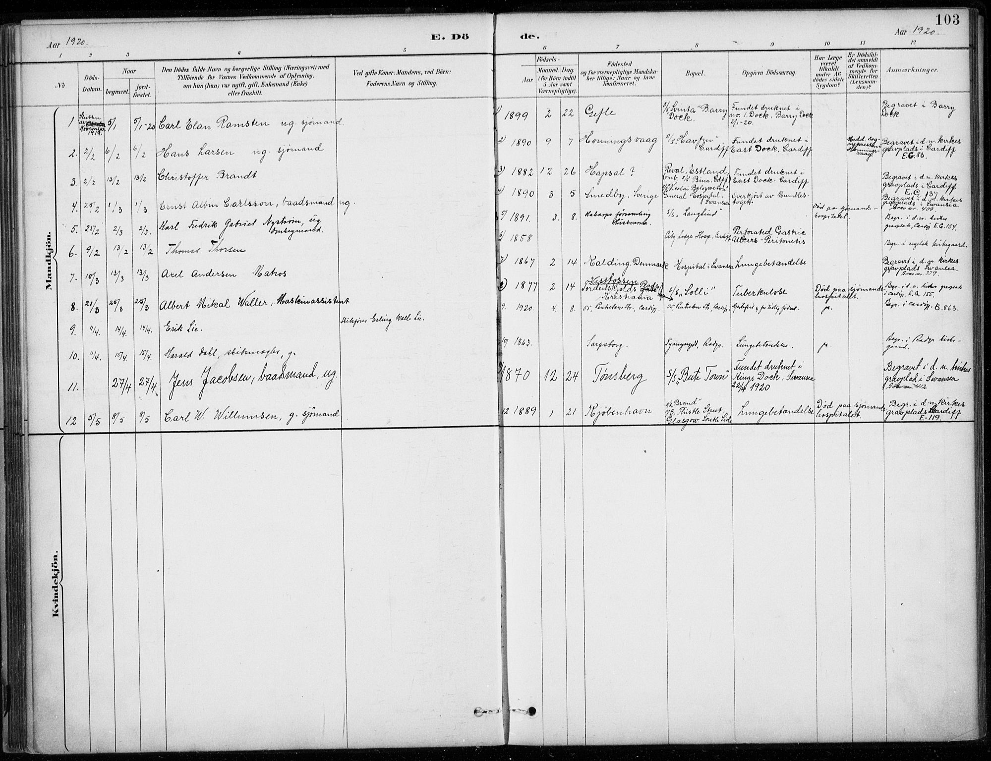 SAB, Den Norske Sjømannsmisjon i utlandet*, Ministerialbok nr. A 2, 1887-1932, s. 103
