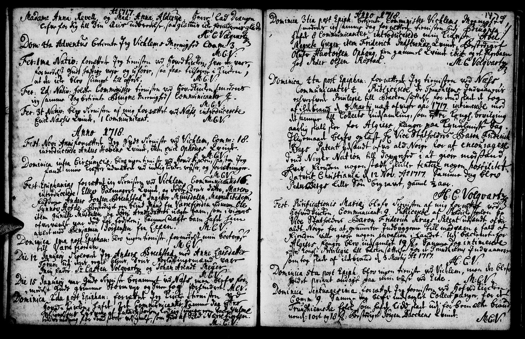 SAT, Ministerialprotokoller, klokkerbøker og fødselsregistre - Sør-Trøndelag, 659/L0731: Ministerialbok nr. 659A01, 1709-1731, s. 146-147