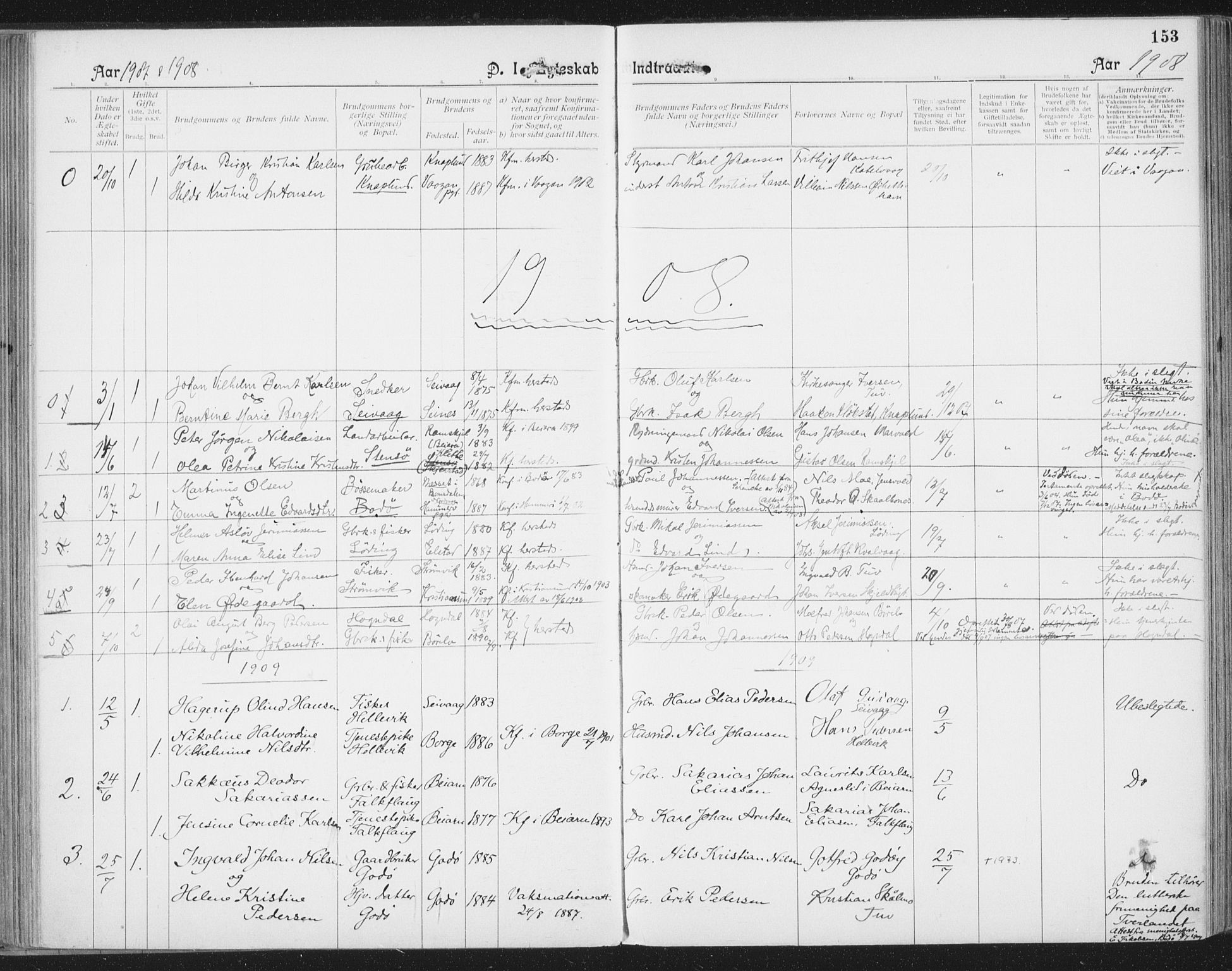 SAT, Ministerialprotokoller, klokkerbøker og fødselsregistre - Nordland, 804/L0081: Ministerialbok nr. 804A02, 1901-1915, s. 153