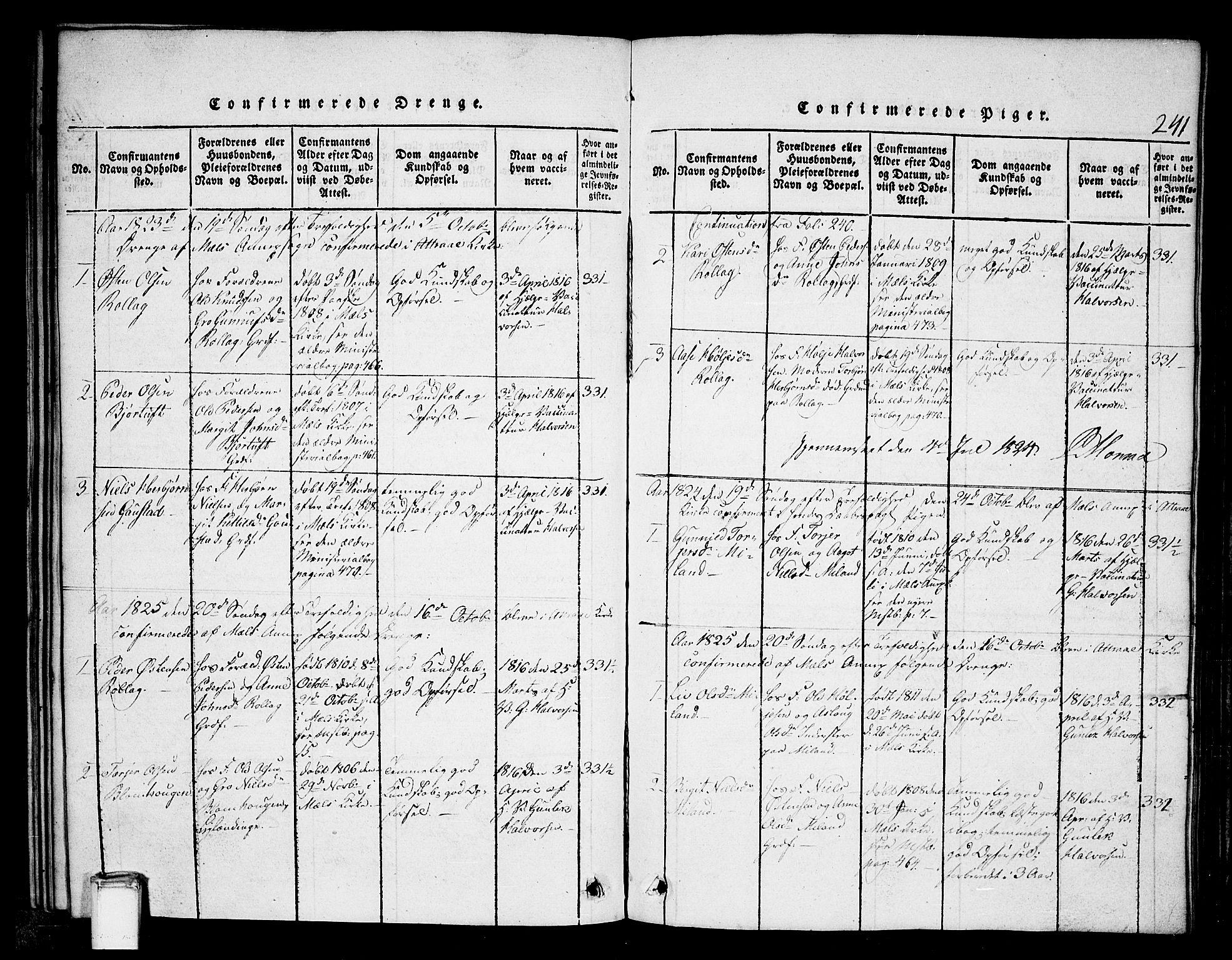 SAKO, Tinn kirkebøker, G/Gb/L0001: Klokkerbok nr. II 1 /1, 1815-1850, s. 241