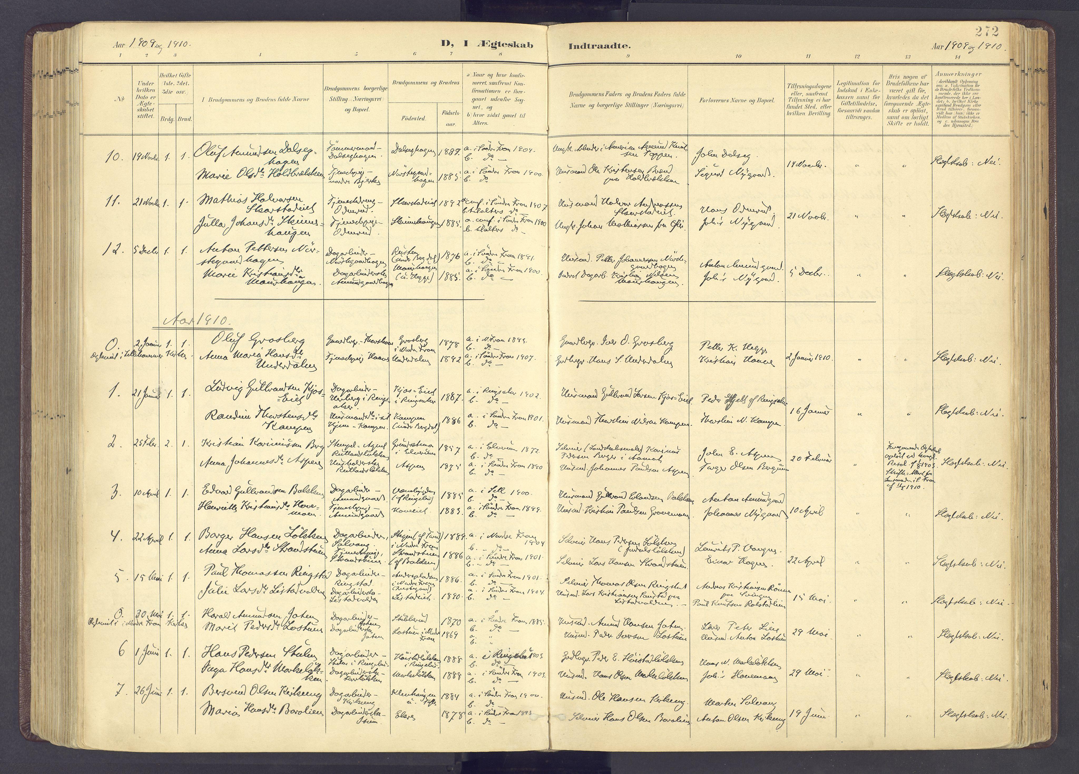 SAH, Sør-Fron prestekontor, H/Ha/Haa/L0004: Ministerialbok nr. 4, 1898-1919, s. 272