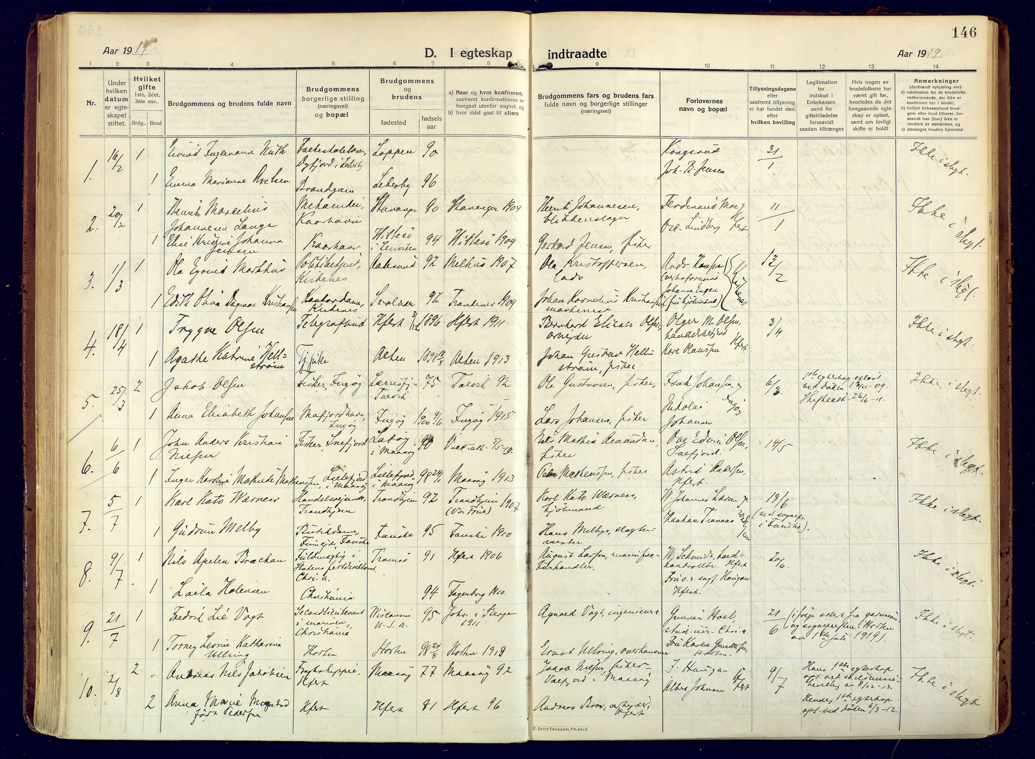 SATØ, Hammerfest sokneprestembete, Ministerialbok nr. 15, 1916-1923, s. 146