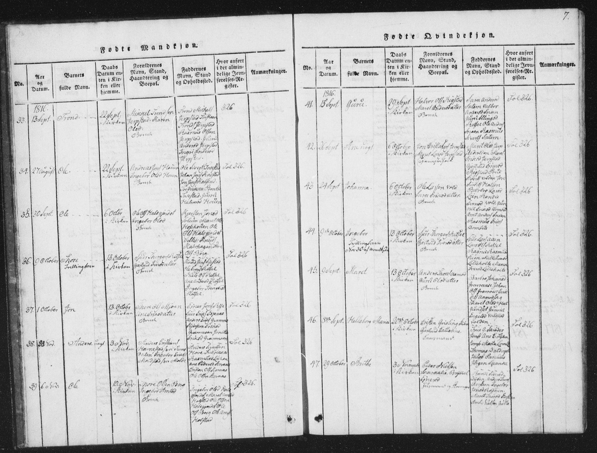 SAT, Ministerialprotokoller, klokkerbøker og fødselsregistre - Sør-Trøndelag, 672/L0862: Klokkerbok nr. 672C01, 1816-1831, s. 7
