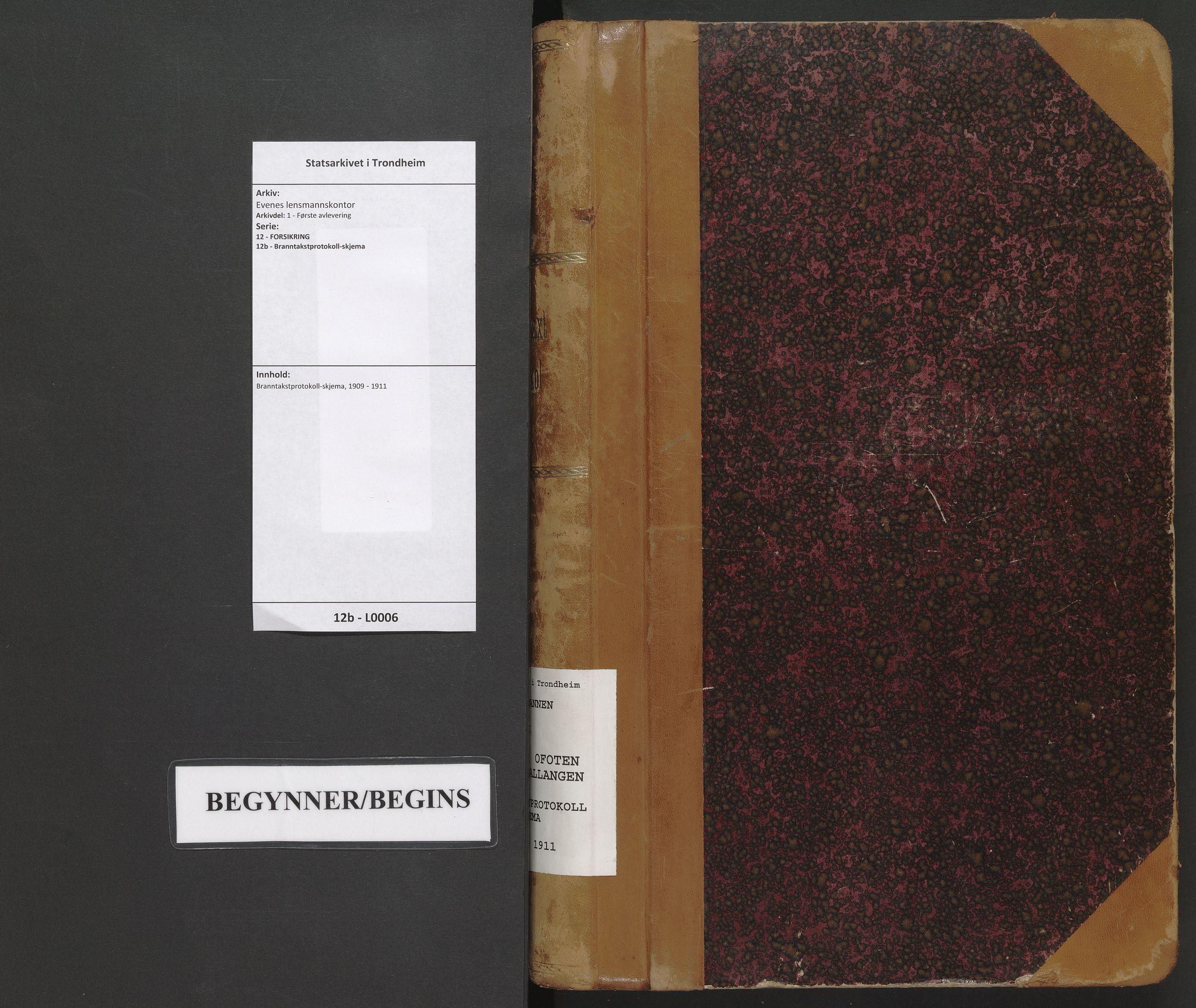 SAT, Evenes lensmannskontor, 12/12b/L0006: Branntakstprotokoll-skjema, 1909-1911