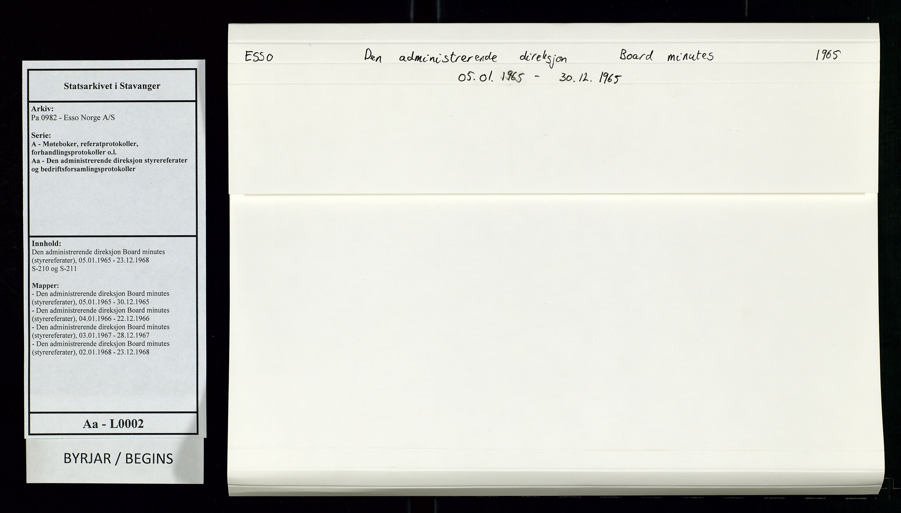 SAST, Pa 0982 - Esso Norge A/S, A/Aa/L0002: Den administrerende direksjon Board minutes (styrereferater), 1965, s. 1