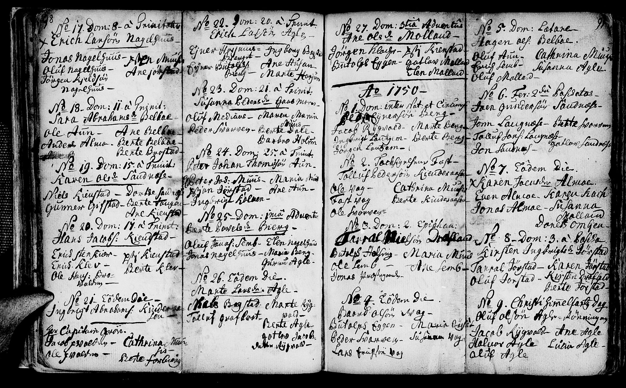 SAT, Ministerialprotokoller, klokkerbøker og fødselsregistre - Nord-Trøndelag, 749/L0467: Ministerialbok nr. 749A01, 1733-1787, s. 98-99