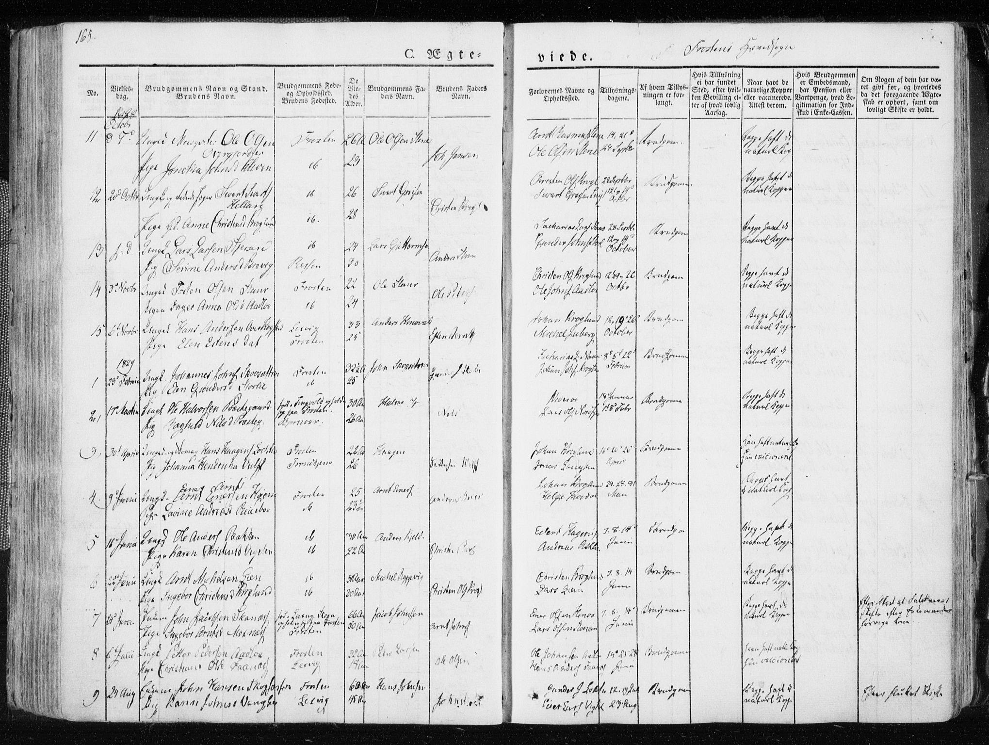SAT, Ministerialprotokoller, klokkerbøker og fødselsregistre - Nord-Trøndelag, 713/L0114: Ministerialbok nr. 713A05, 1827-1839, s. 165