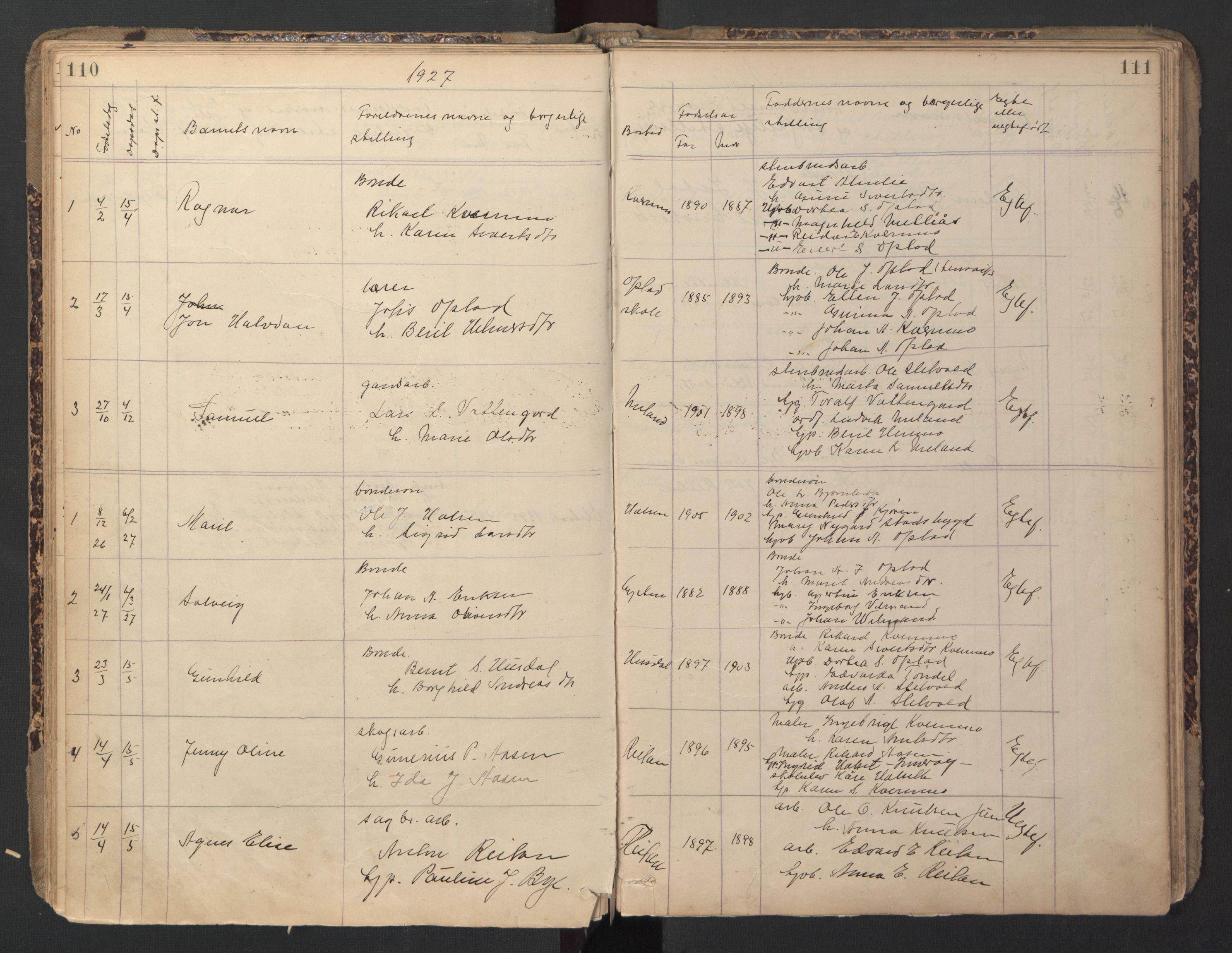 SAT, Ministerialprotokoller, klokkerbøker og fødselsregistre - Sør-Trøndelag, 670/L0837: Klokkerbok nr. 670C01, 1905-1946, s. 110-111