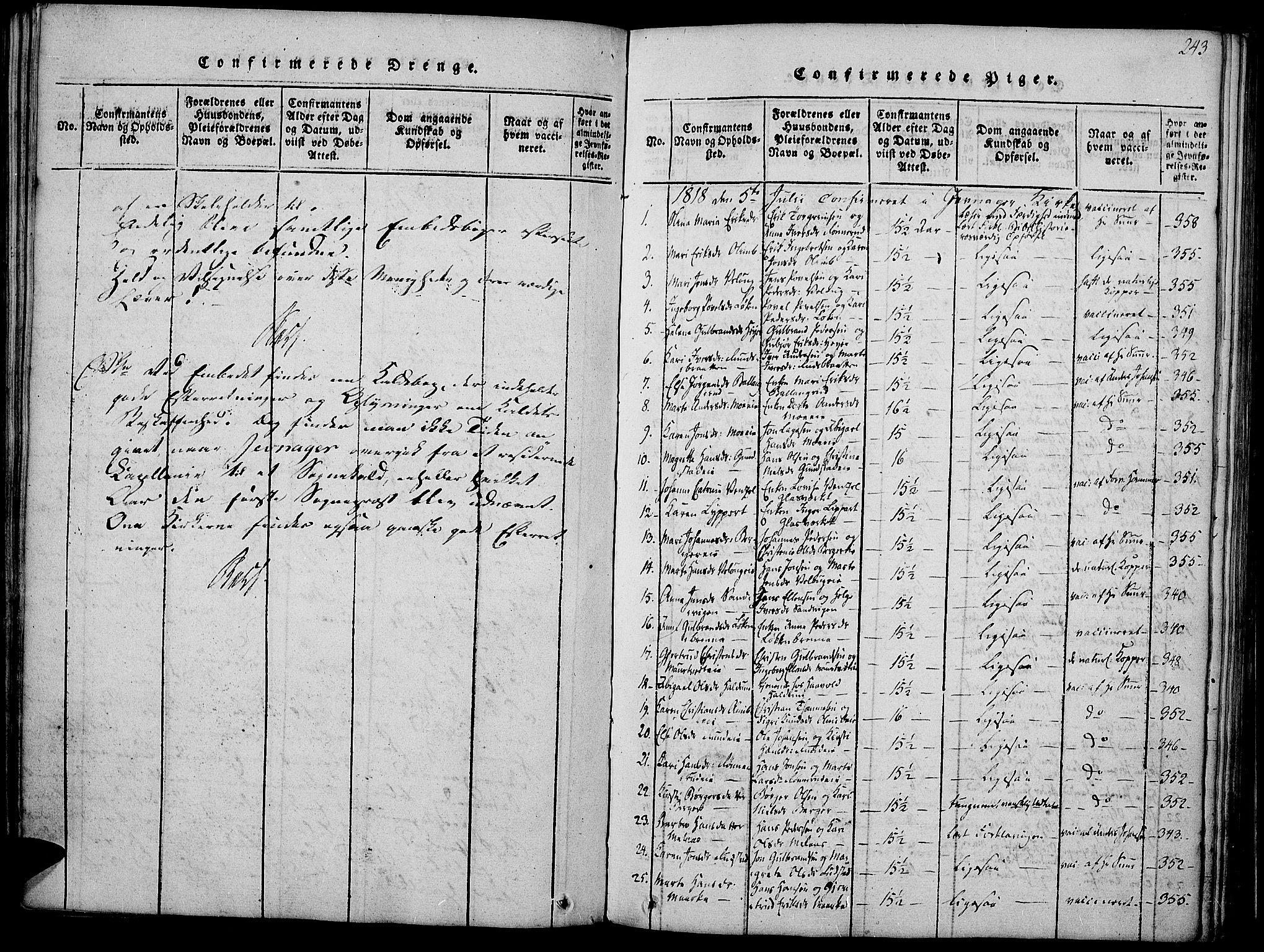 SAH, Jevnaker prestekontor, Ministerialbok nr. 5, 1815-1837, s. 243