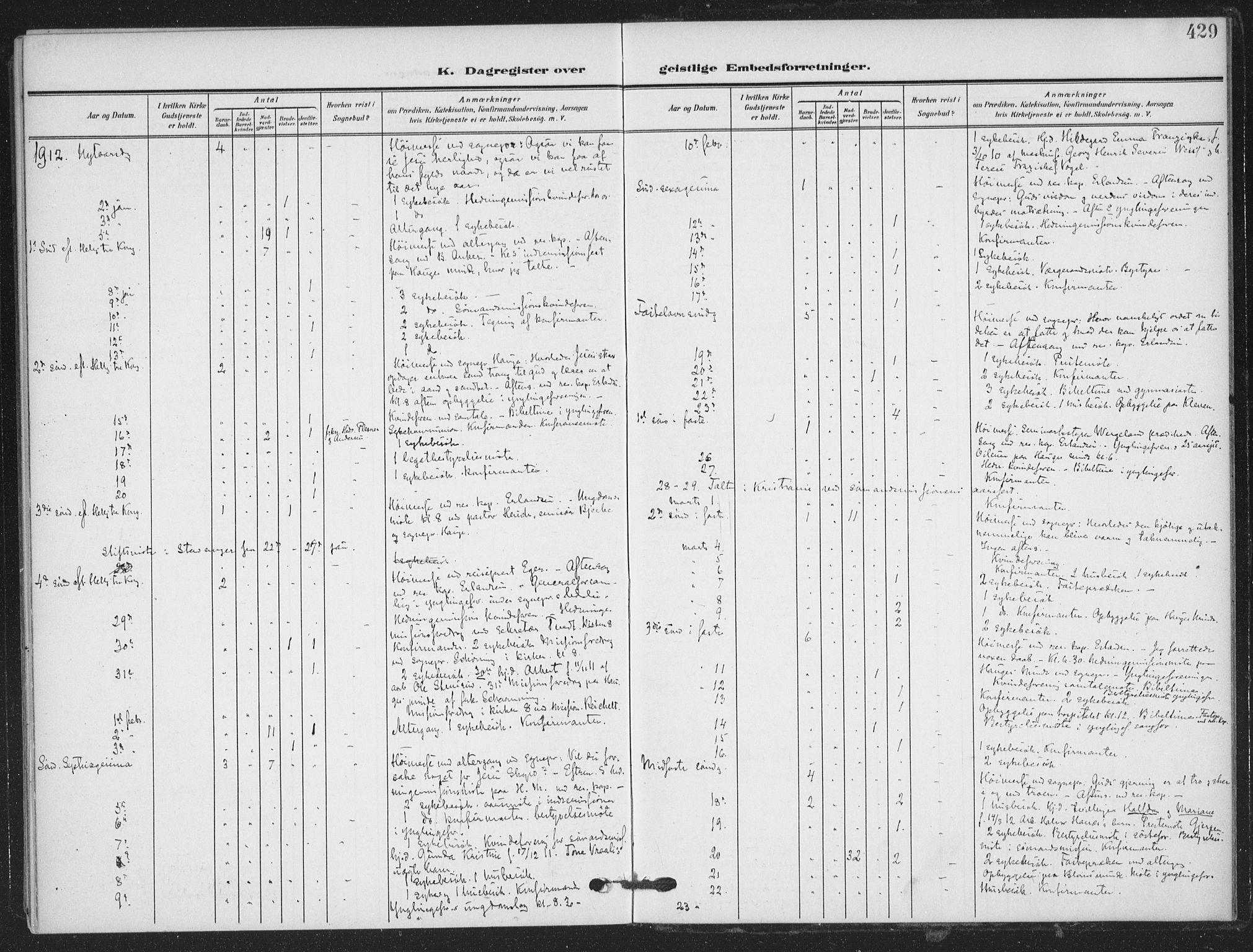 SAKO, Skien kirkebøker, F/Fa/L0012: Ministerialbok nr. 12, 1908-1914, s. 429