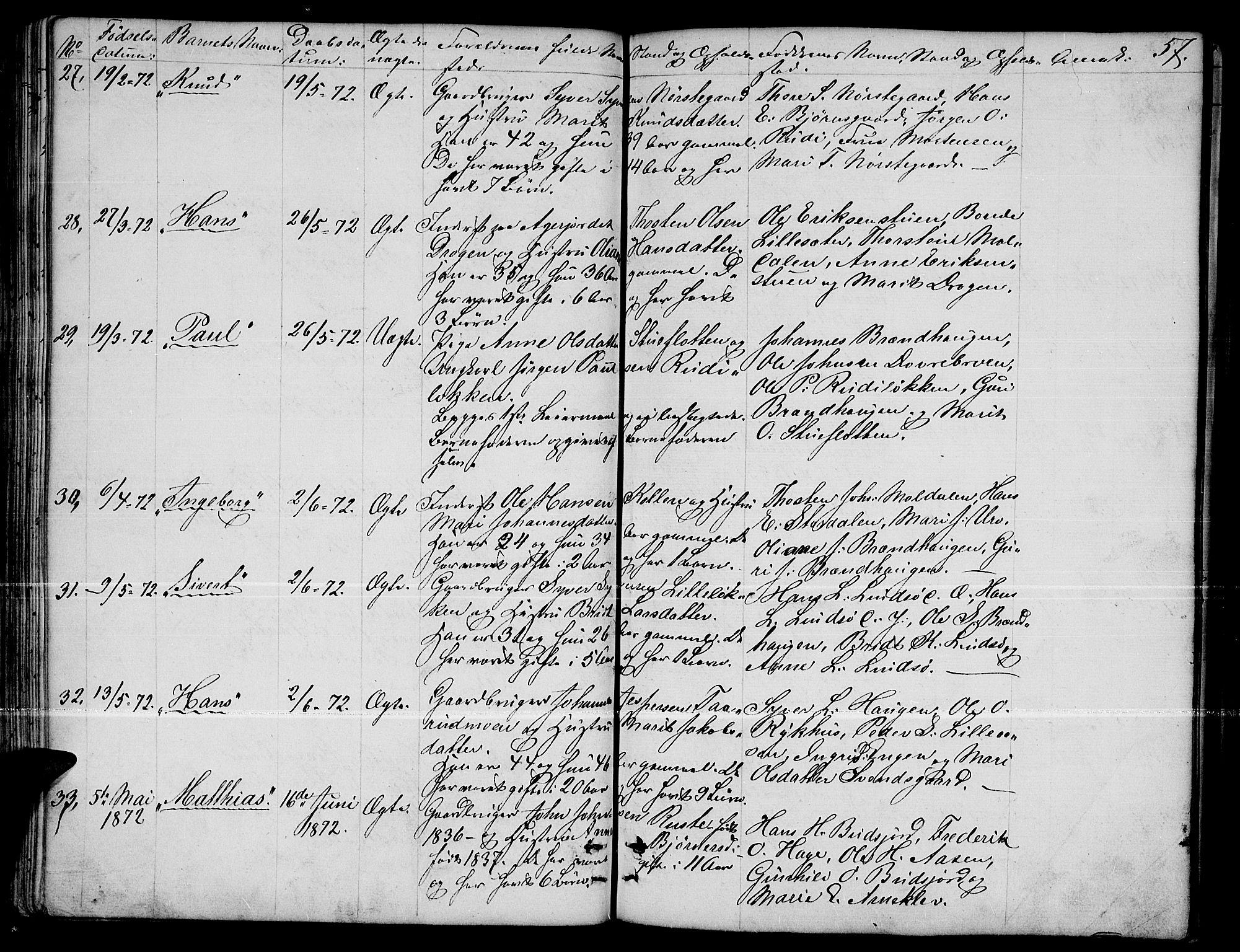 SAH, Dovre prestekontor, Klokkerbok nr. 1, 1862-1880, s. 57