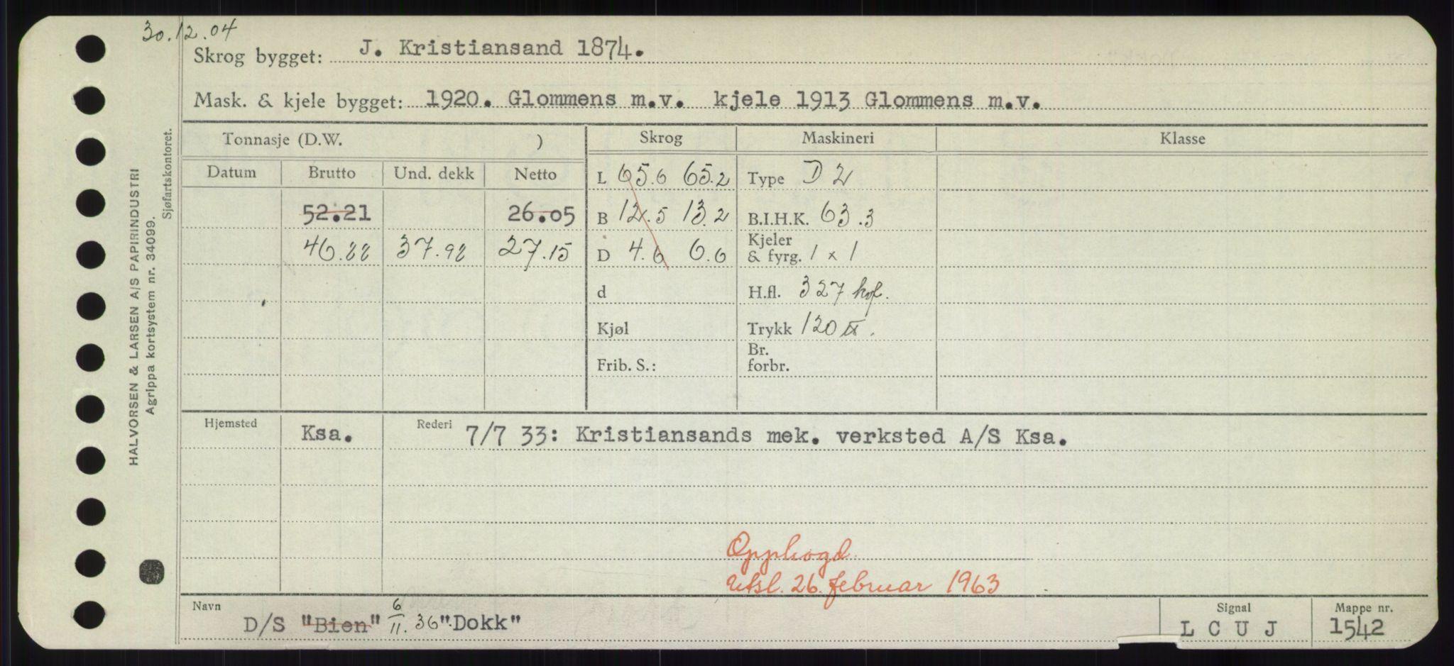 RA, Sjøfartsdirektoratet med forløpere, Skipsmålingen, H/Hd/L0008: Fartøy, C-D, s. 551