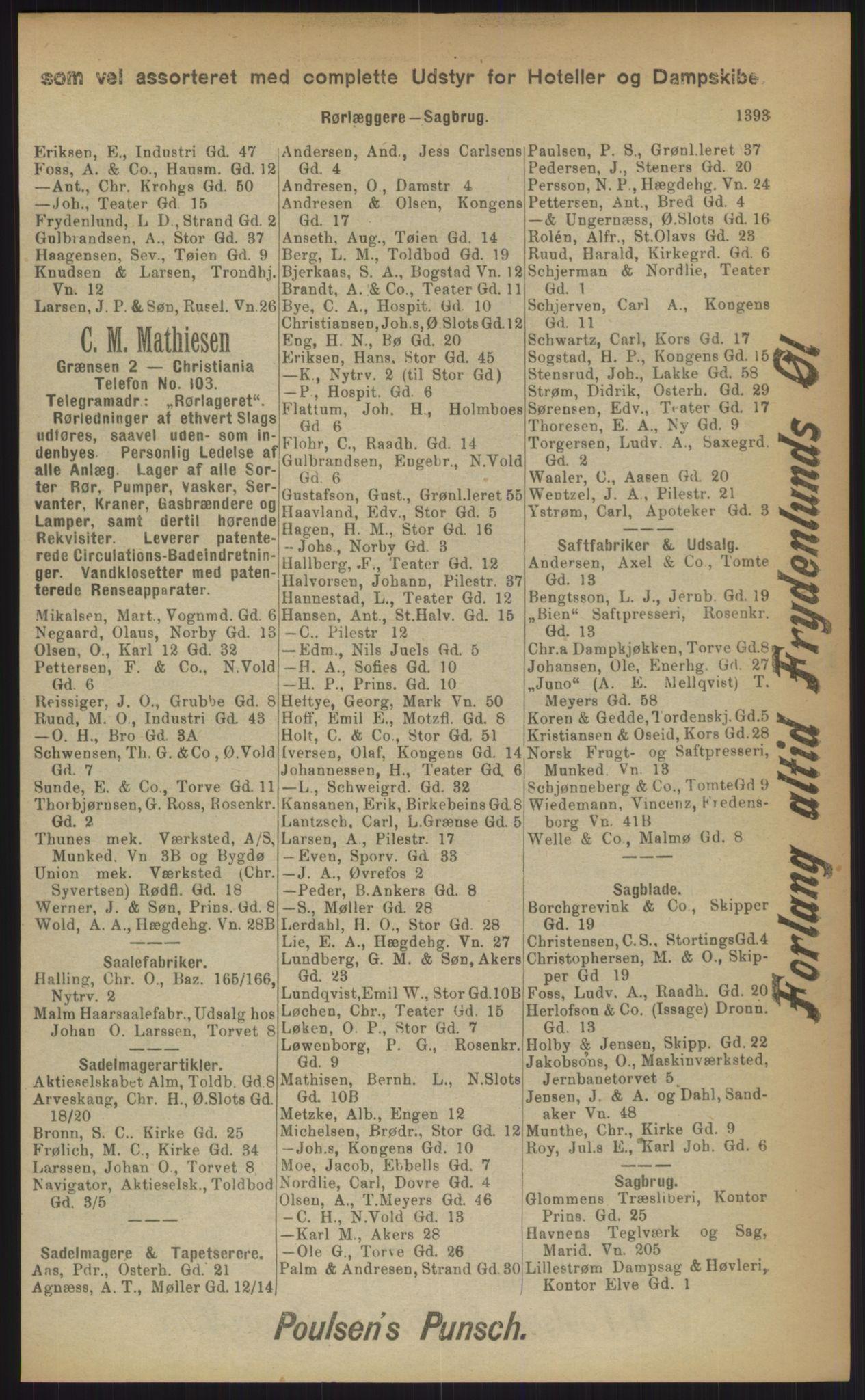 RA, Kristiania adressebok (publikasjon)*, 1903, s. 1393