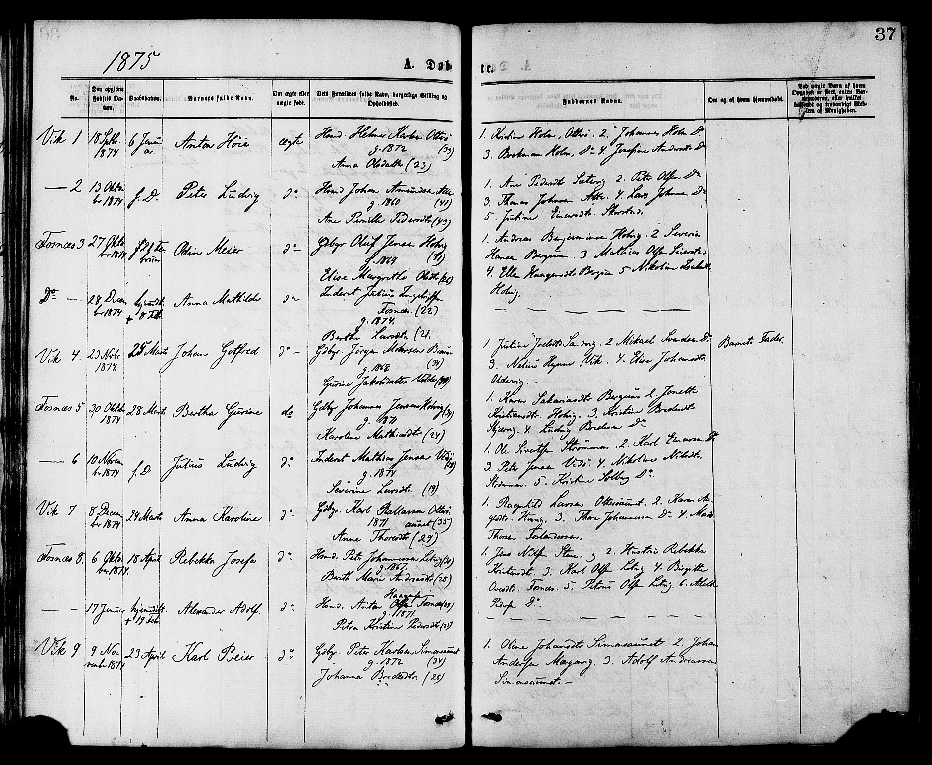 SAT, Ministerialprotokoller, klokkerbøker og fødselsregistre - Nord-Trøndelag, 773/L0616: Ministerialbok nr. 773A07, 1870-1887, s. 37