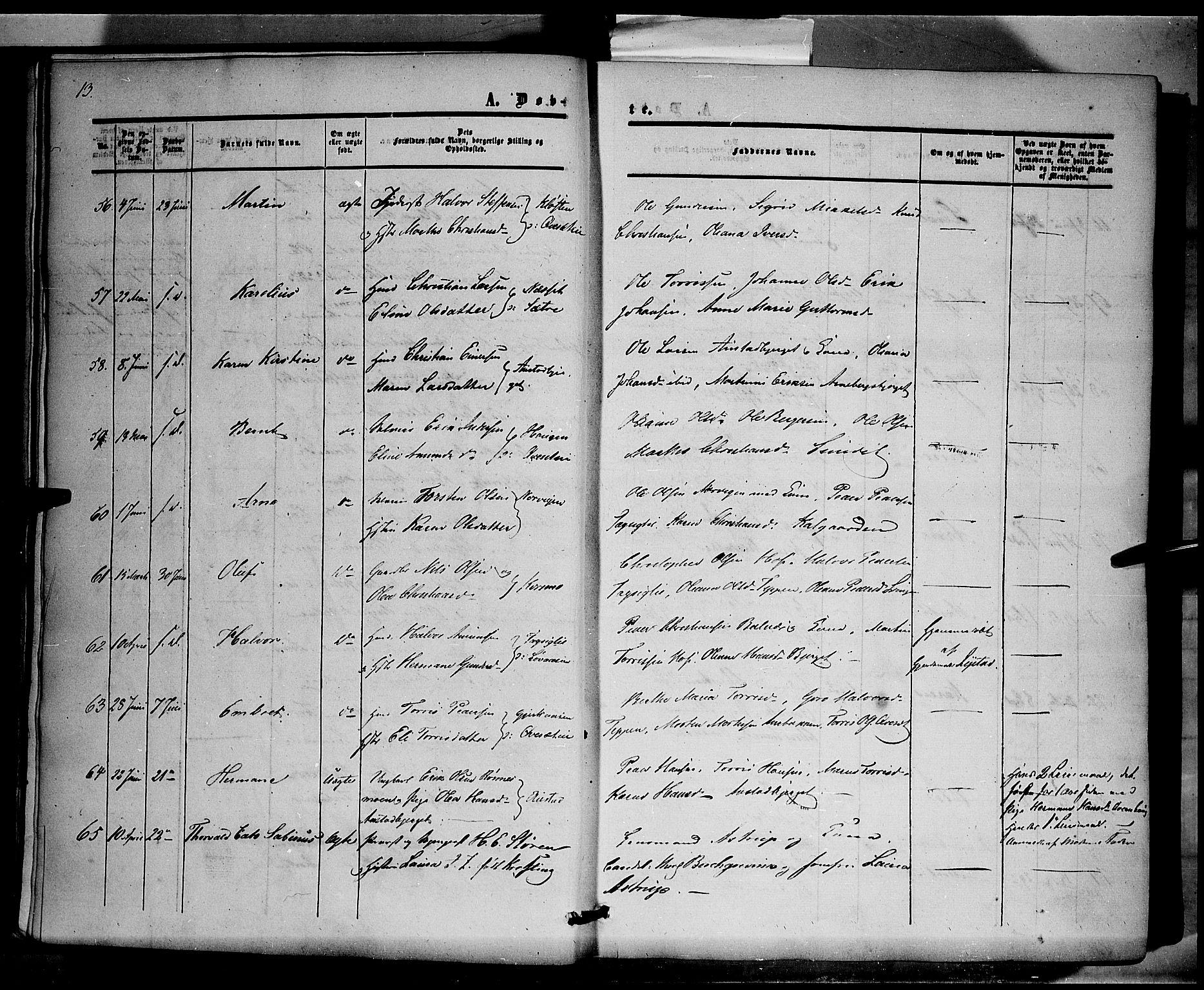 SAH, Hof prestekontor, Ministerialbok nr. 8, 1849-1861, s. 13