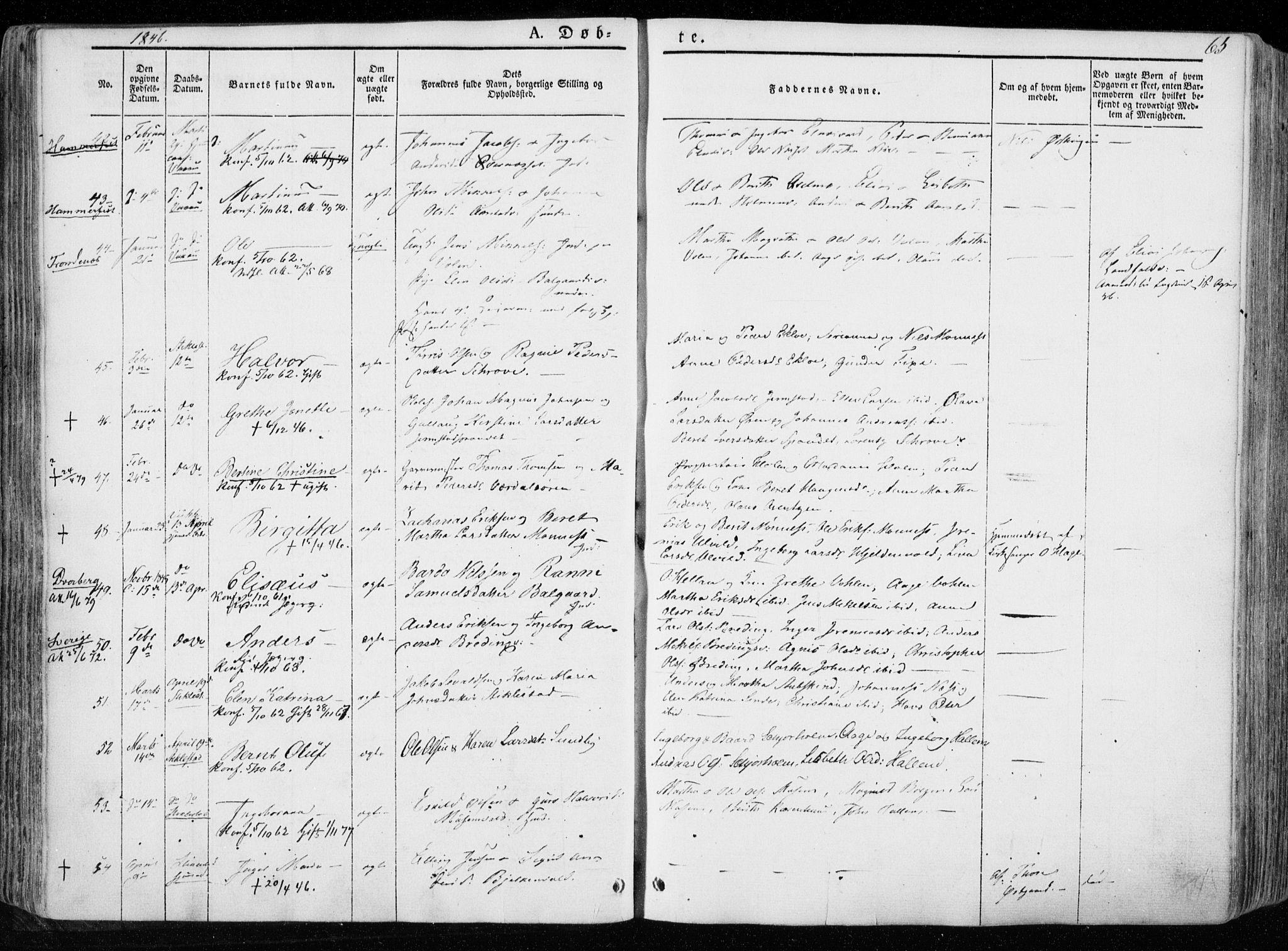 SAT, Ministerialprotokoller, klokkerbøker og fødselsregistre - Nord-Trøndelag, 723/L0239: Ministerialbok nr. 723A08, 1841-1851, s. 65