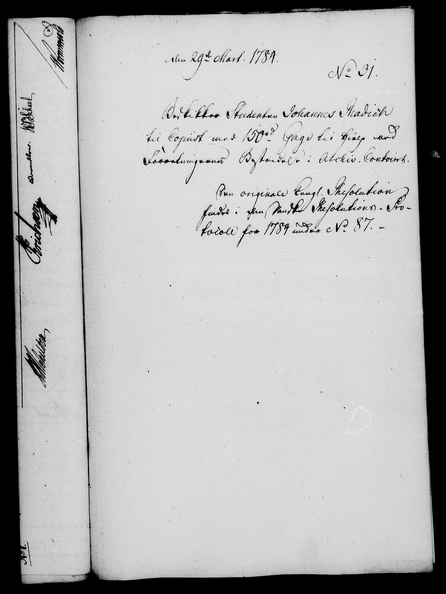 RA, Rentekammeret, Kammerkanselliet, G/Gf/Gfa/L0066: Norsk relasjons- og resolusjonsprotokoll (merket RK 52.66), 1784, s. 271