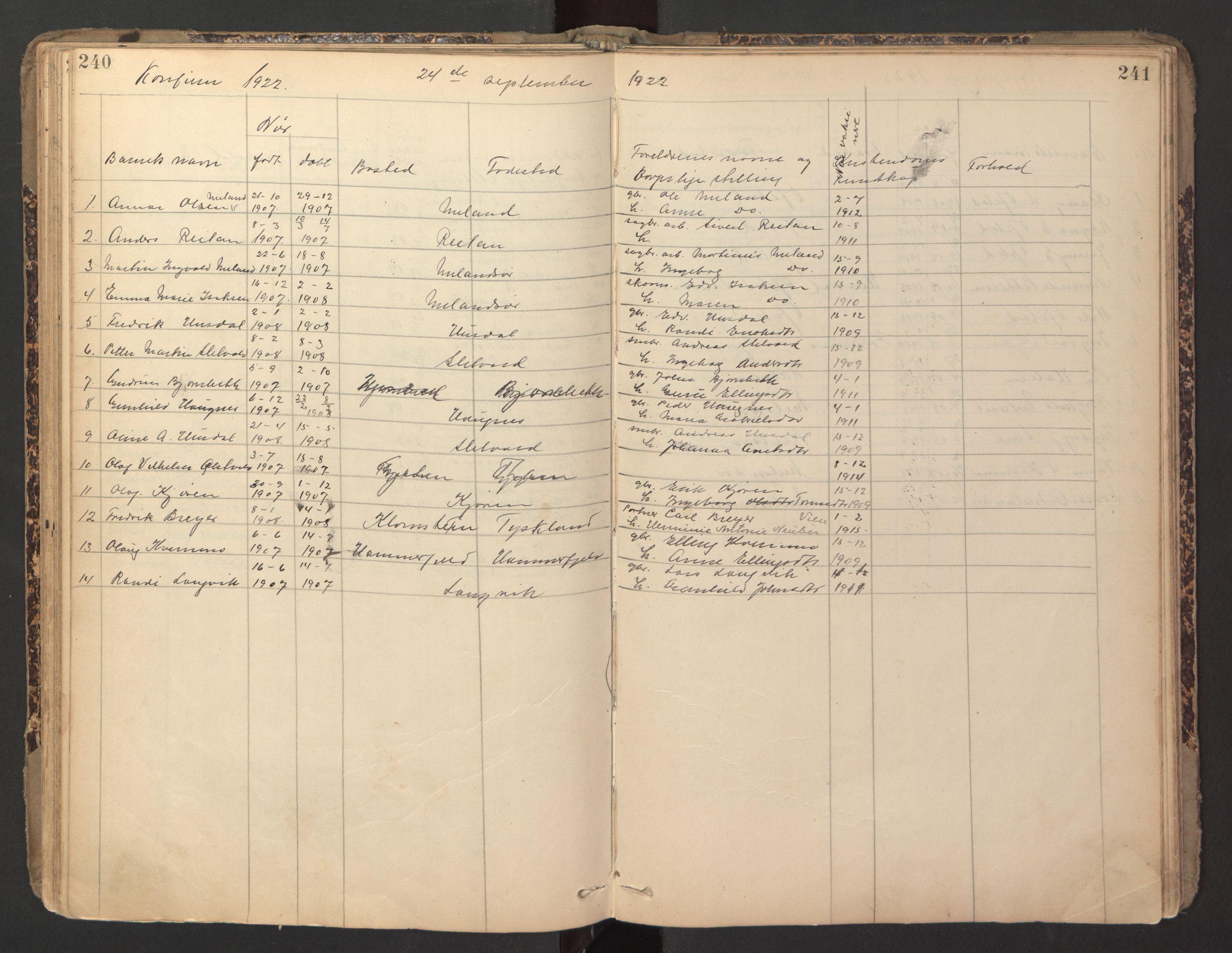 SAT, Ministerialprotokoller, klokkerbøker og fødselsregistre - Sør-Trøndelag, 670/L0837: Klokkerbok nr. 670C01, 1905-1946, s. 240-241