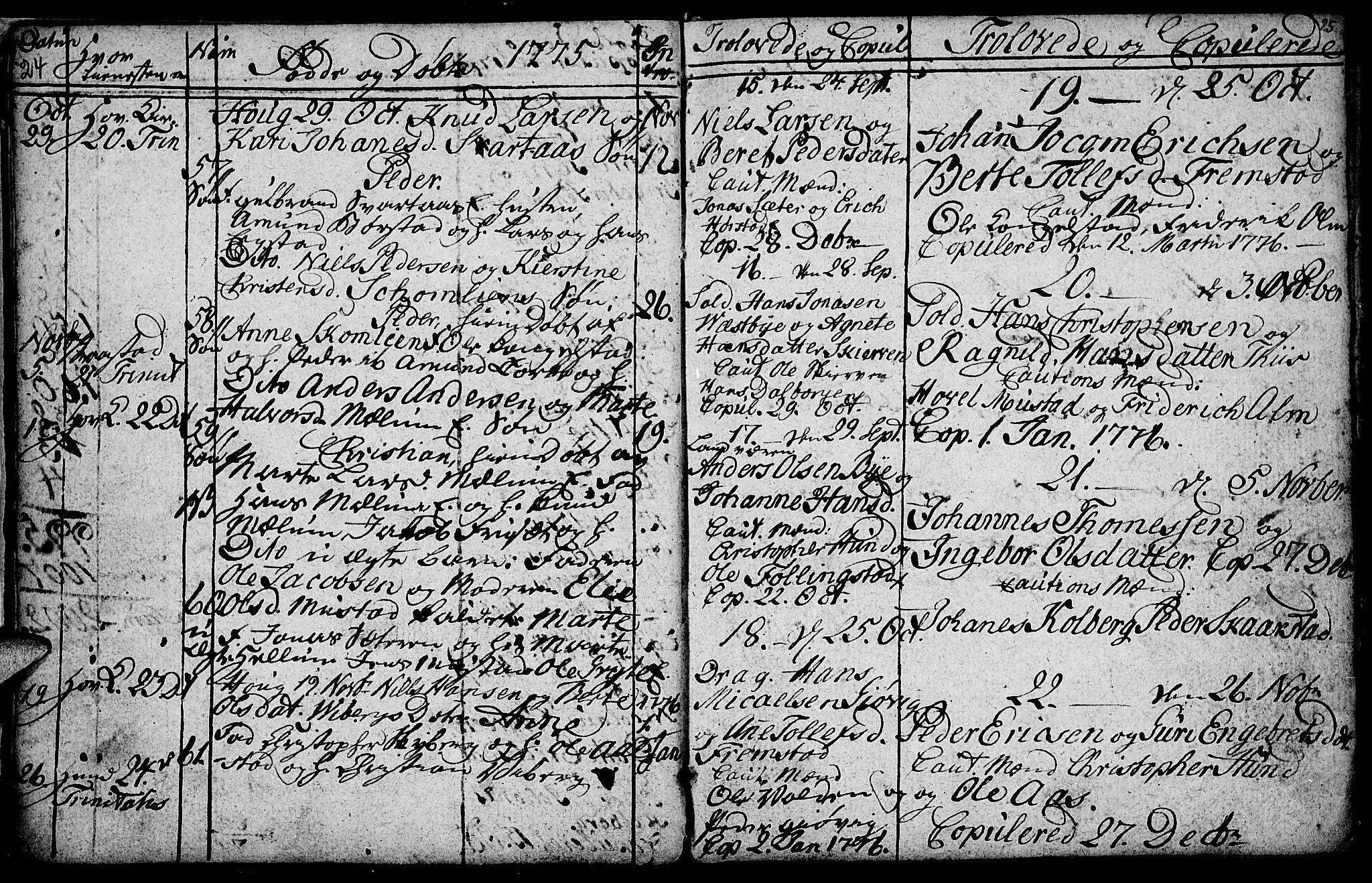 SAH, Vardal prestekontor, H/Ha/Hab/L0001: Klokkerbok nr. 1, 1771-1790, s. 24-25