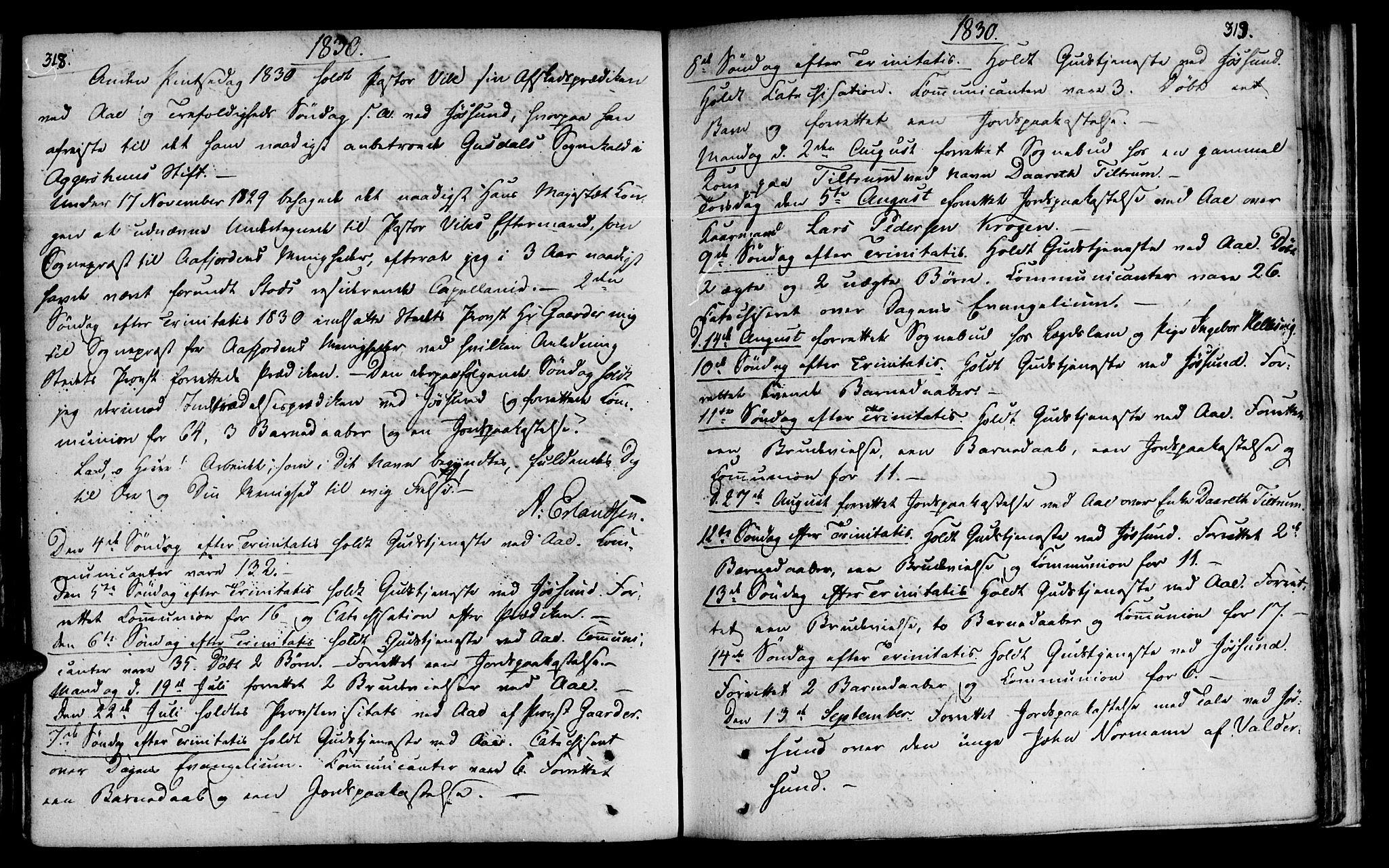 SAT, Ministerialprotokoller, klokkerbøker og fødselsregistre - Sør-Trøndelag, 655/L0674: Ministerialbok nr. 655A03, 1802-1826, s. 318-319