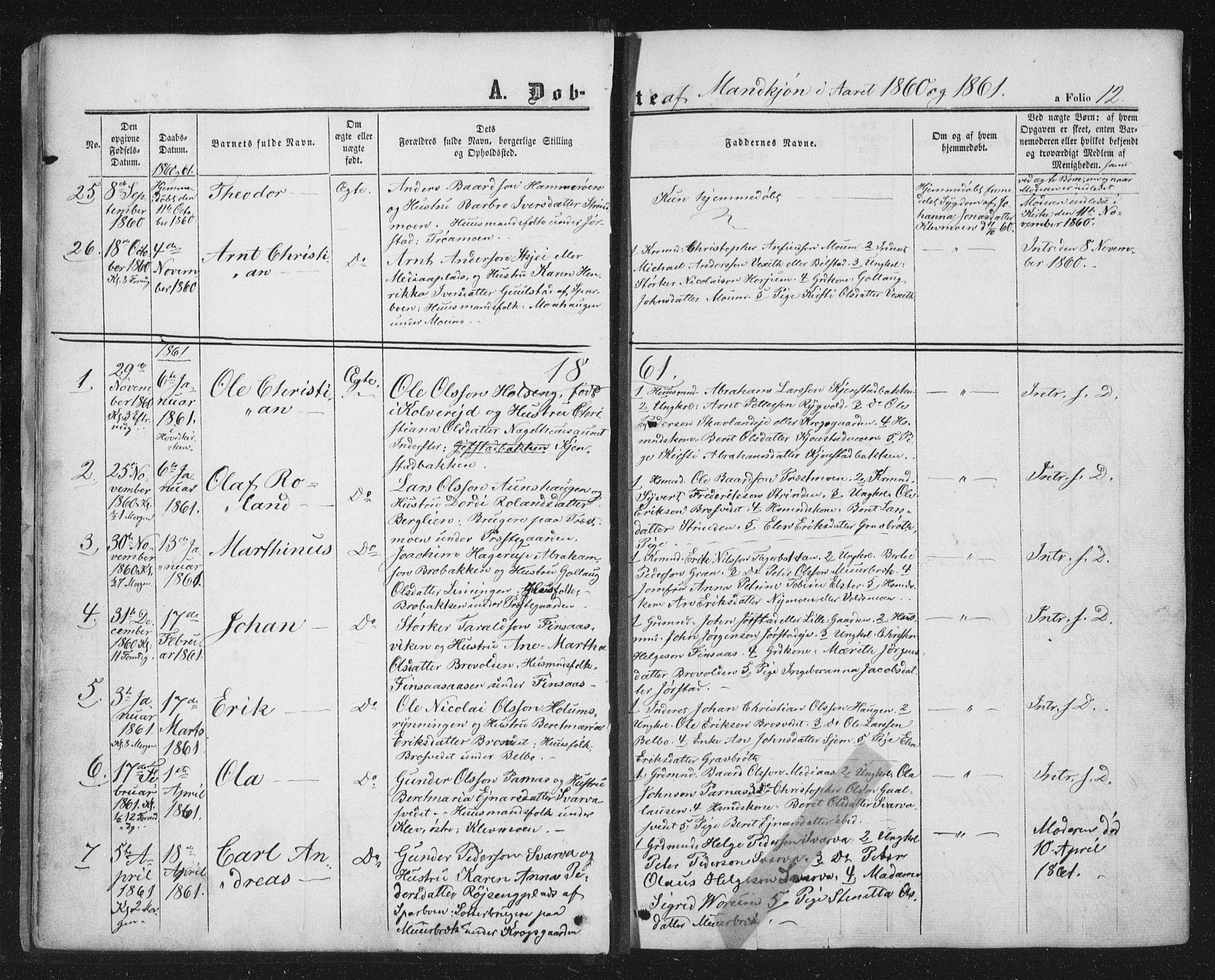 SAT, Ministerialprotokoller, klokkerbøker og fødselsregistre - Nord-Trøndelag, 749/L0472: Ministerialbok nr. 749A06, 1857-1873, s. 12